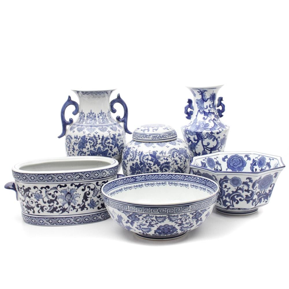 Blue Over White Decorative Porcelain Accents