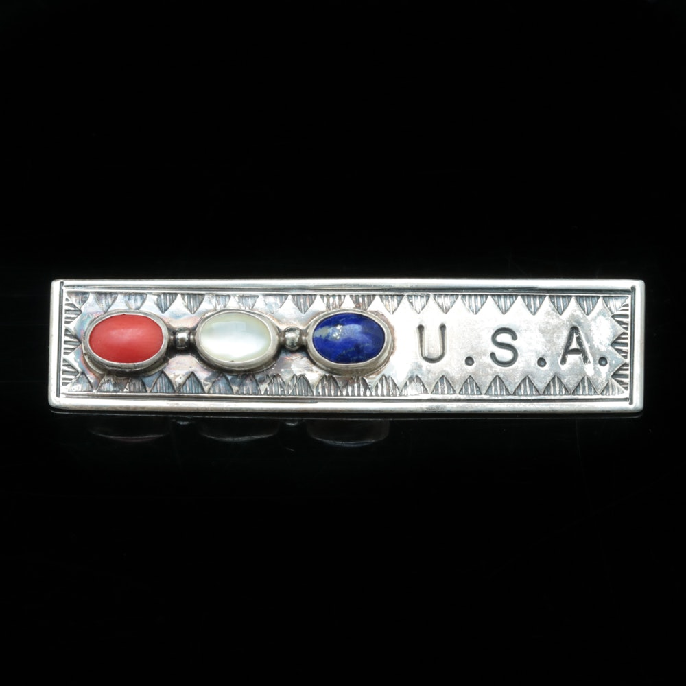 "Sterling Silver and Multi-Gemstone ""U.S.A."" Bar Pin by Joe Delgarito"