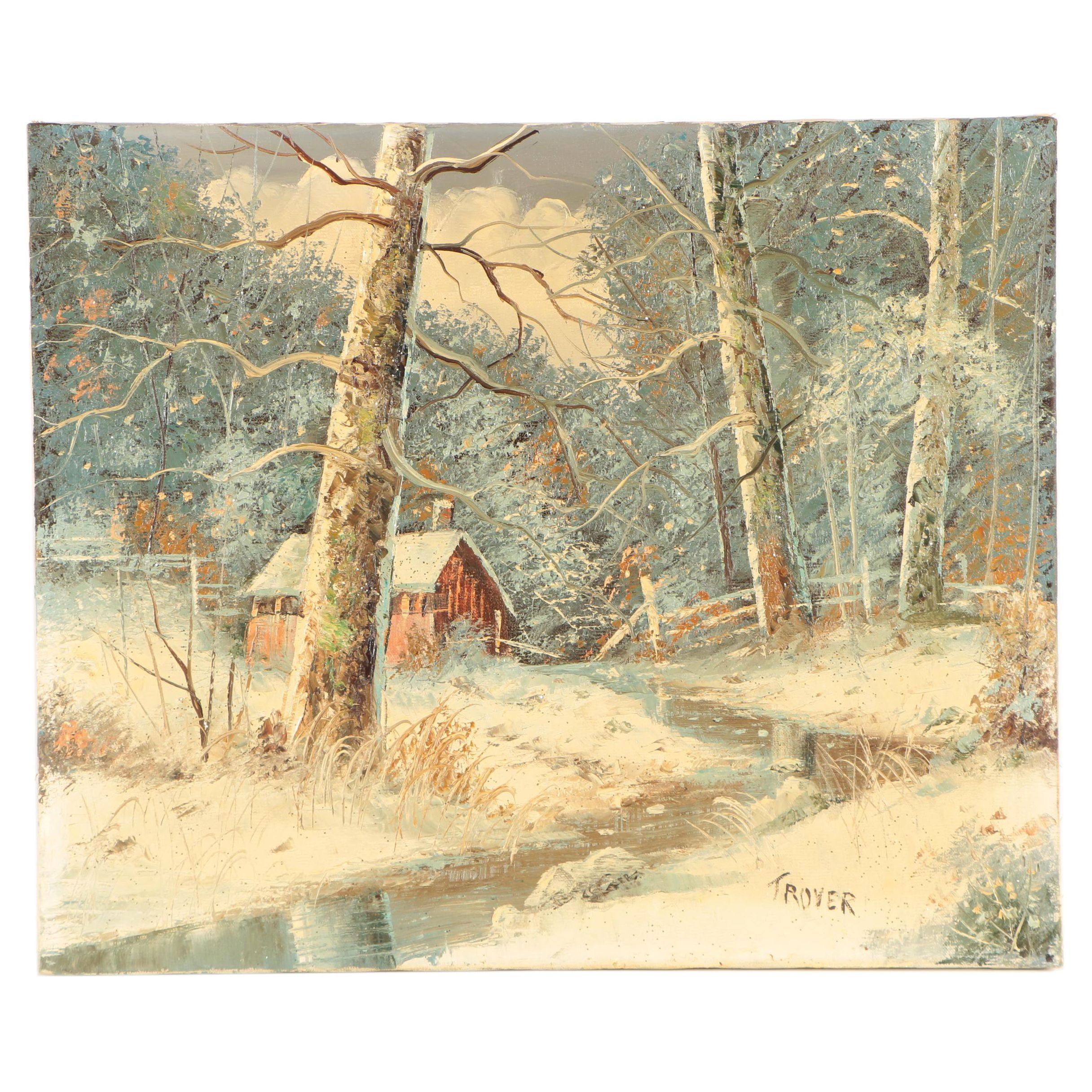 Joseph Trover Oil Painting of a Winter Landscape
