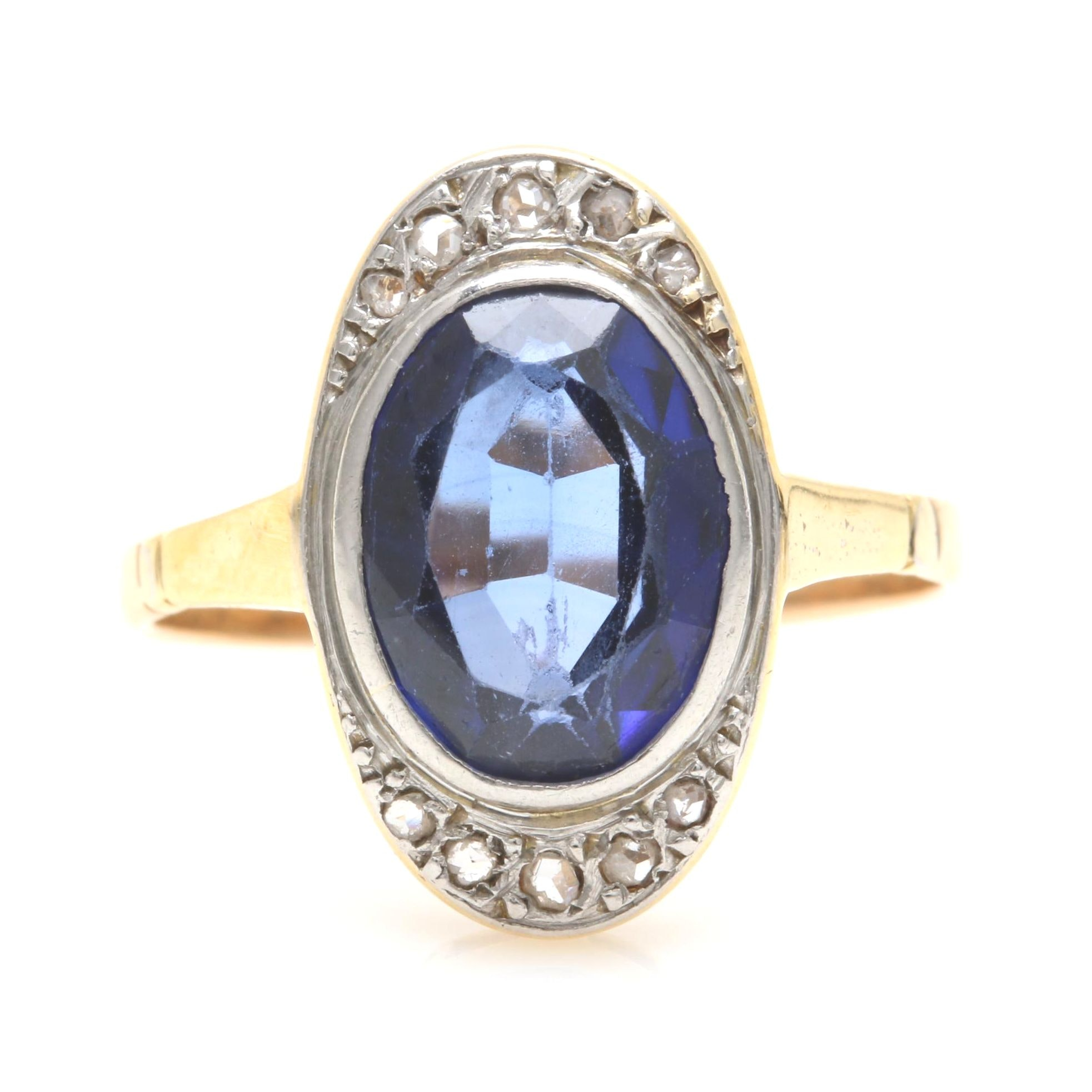 14K Yellow Gold Synthetic Sapphire and Diamond Ring with Platinum Accent