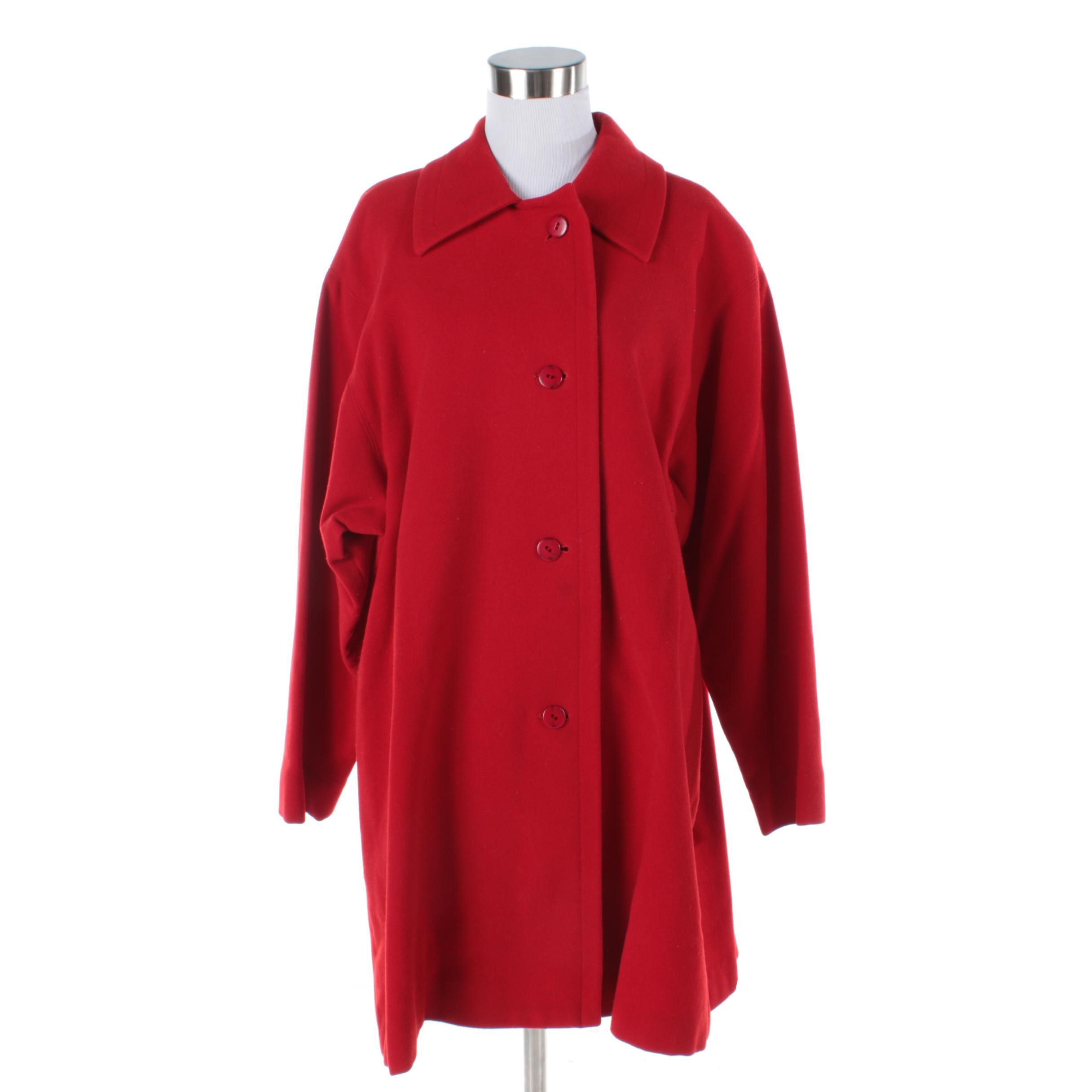 Linda Allard for Ellen Tracy Red Wool Blend Jacket