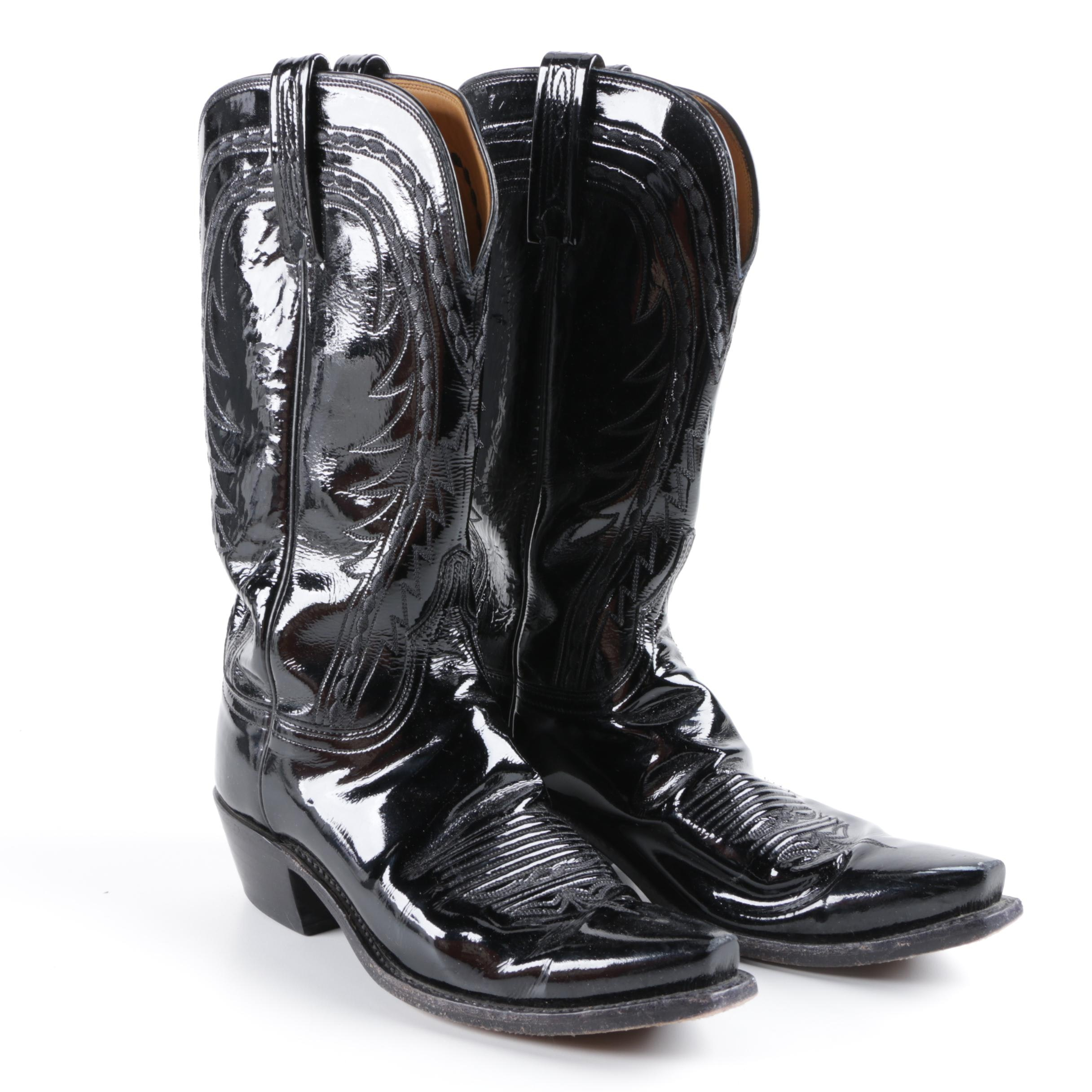 Men's 1883 by Lucchese Black Patent Leather Cowboy Boots