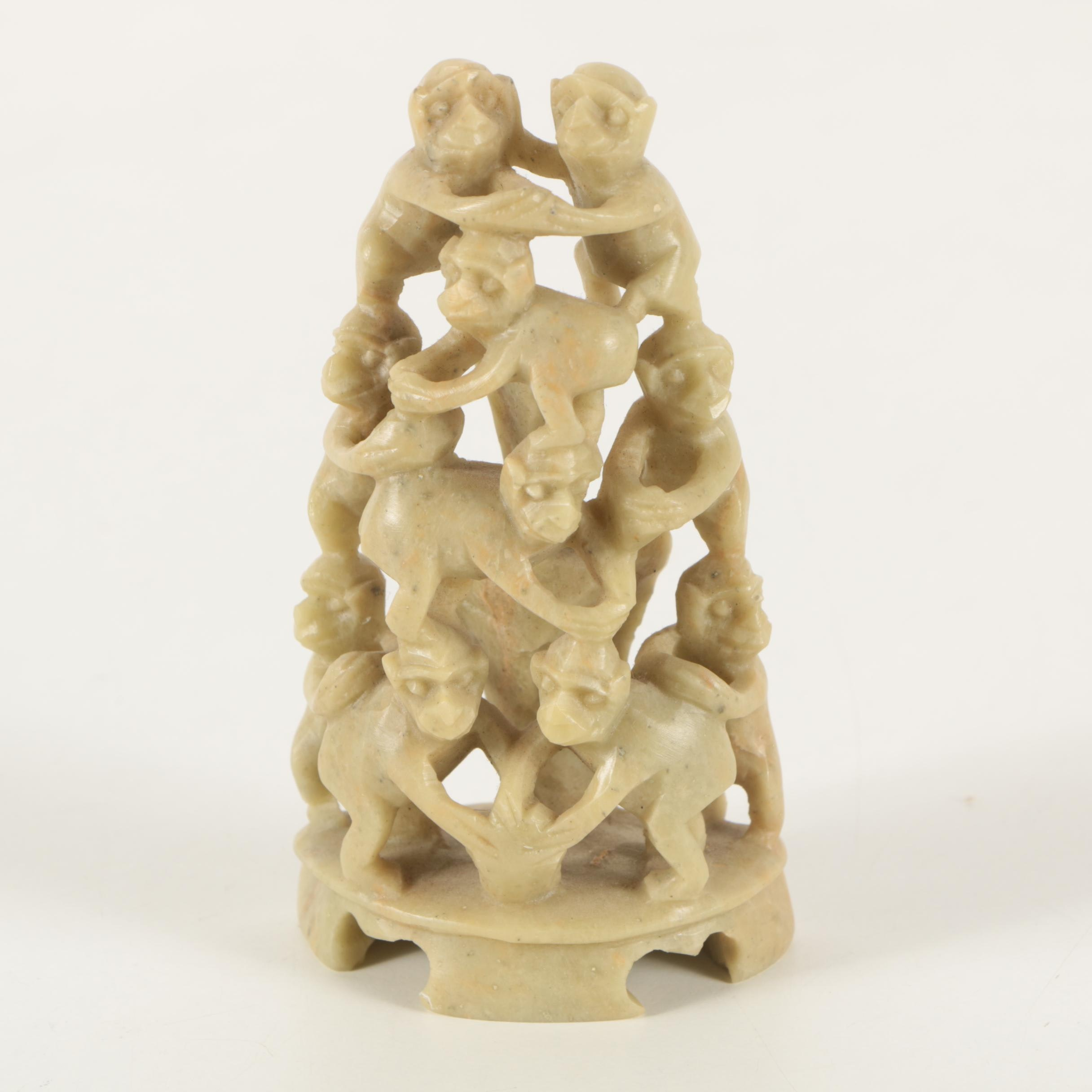 Chinese Carved Soapstone Figurine of Ten Monkeys
