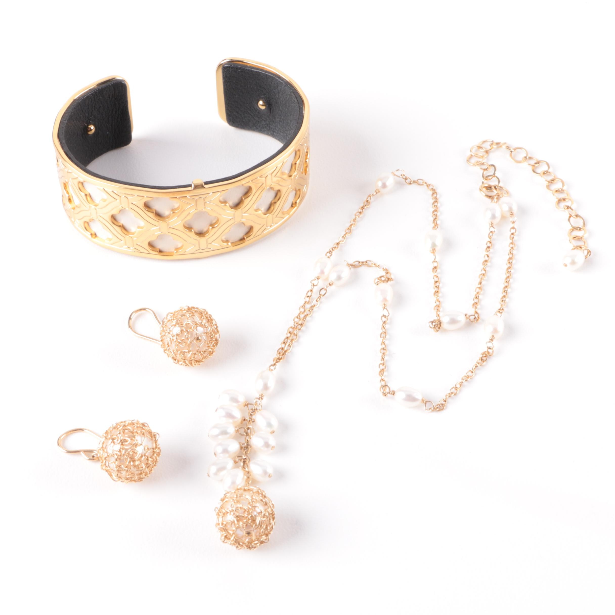 Assortment of Gold Filled, Leather and Cultured Pearl Jewelry Including Brighton