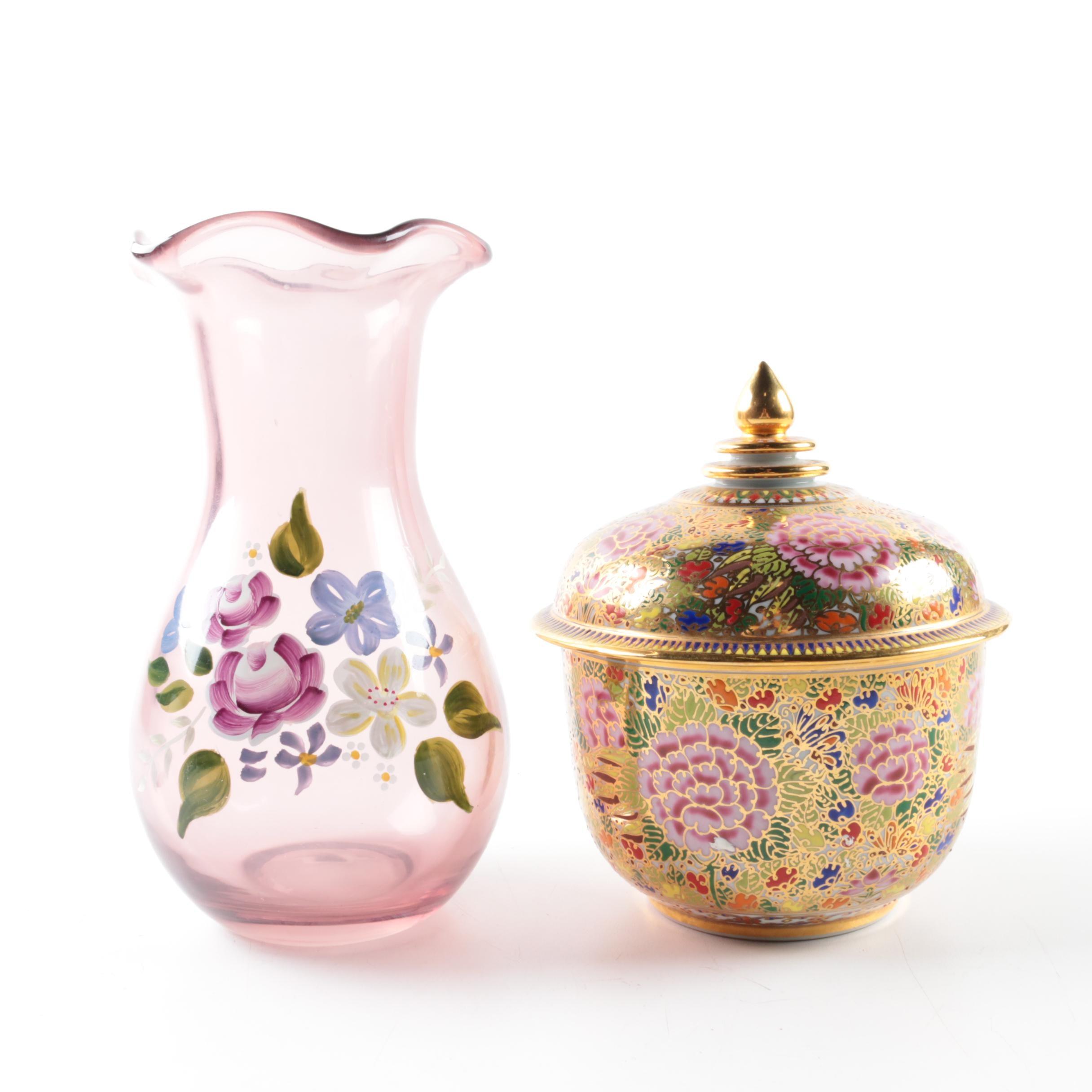 Glass Vase and Ceramic Lidded Jar