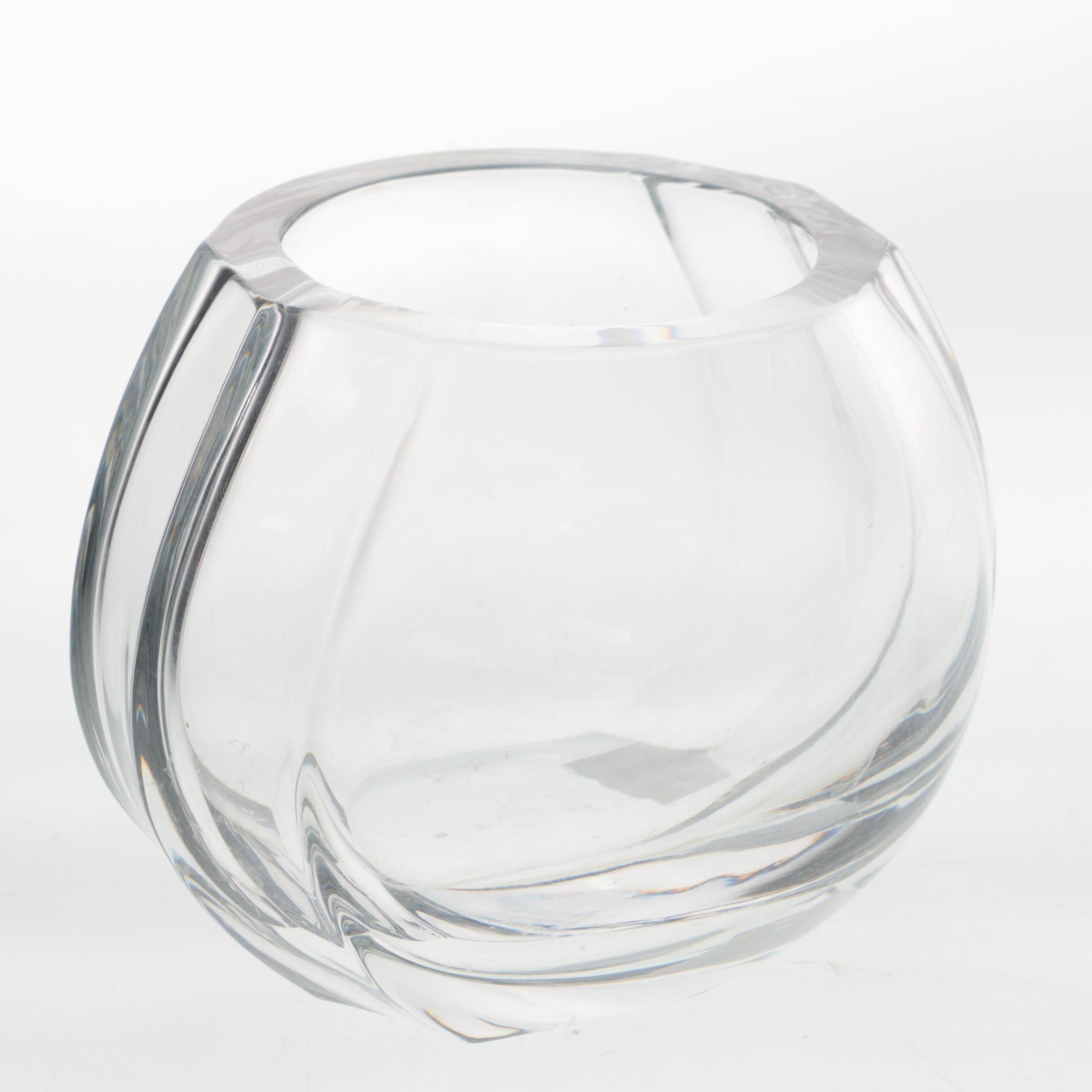 "Baccarat Crystal Vase ""Elysee"" Rose Bowl"