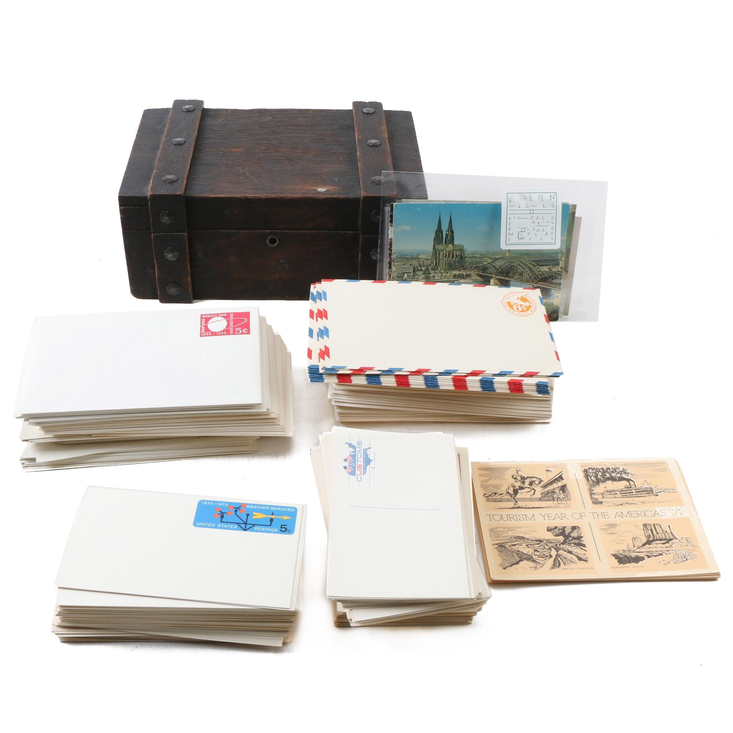 Vintage Humidor, Postcards and First Day Covers