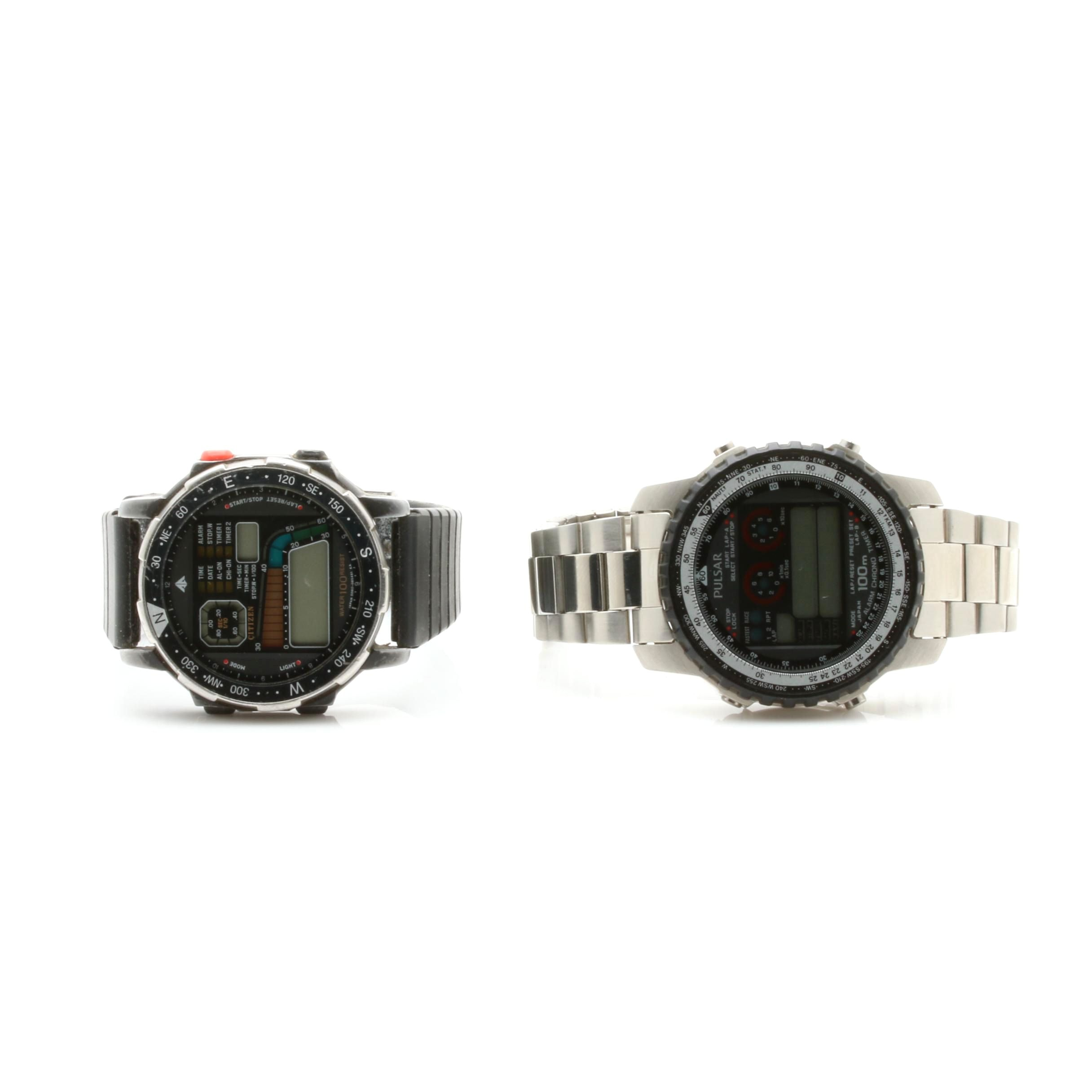 Pular and Citizen Silver Tone Digital Display Watches