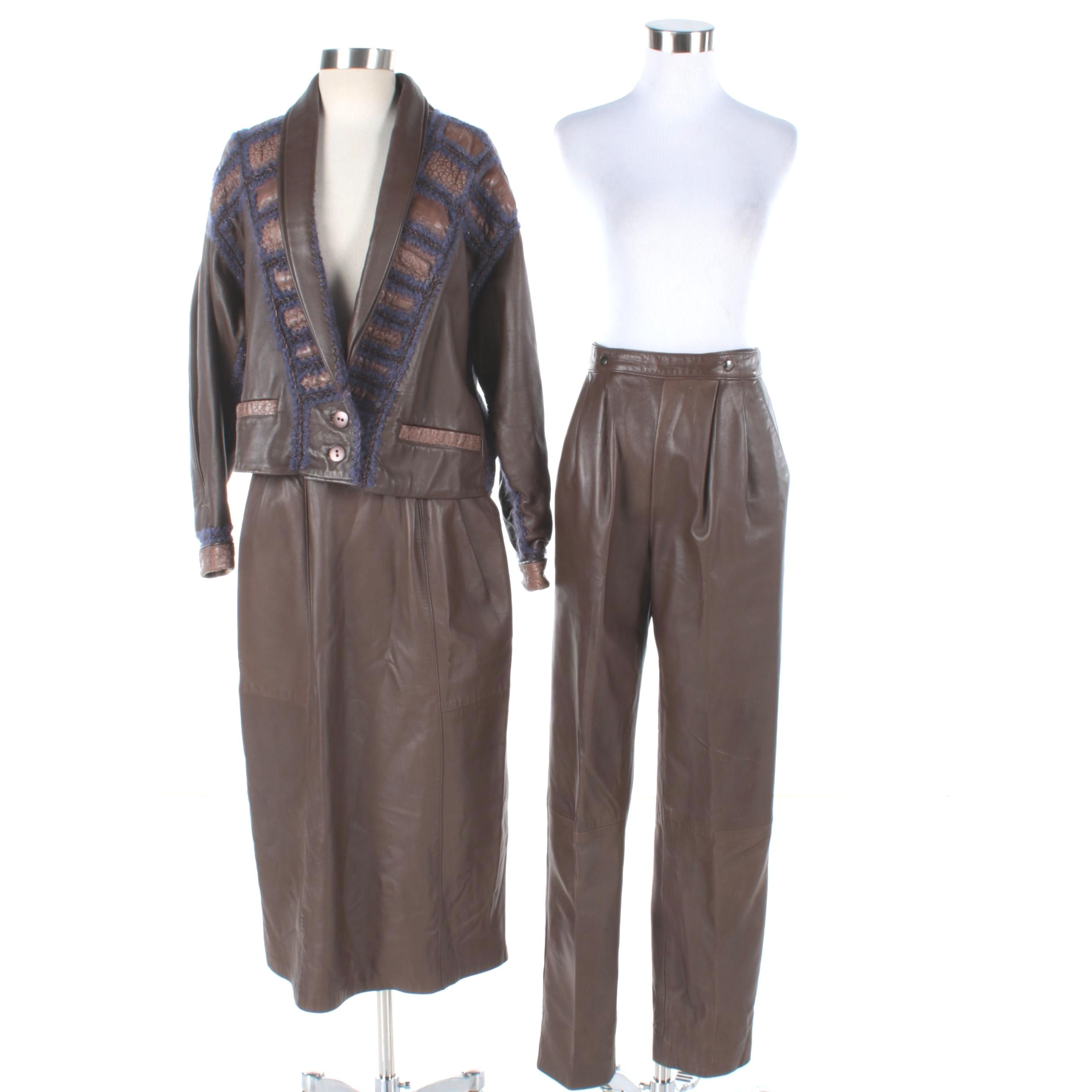 Vintage Norma Canada Brown Leather Ensemble