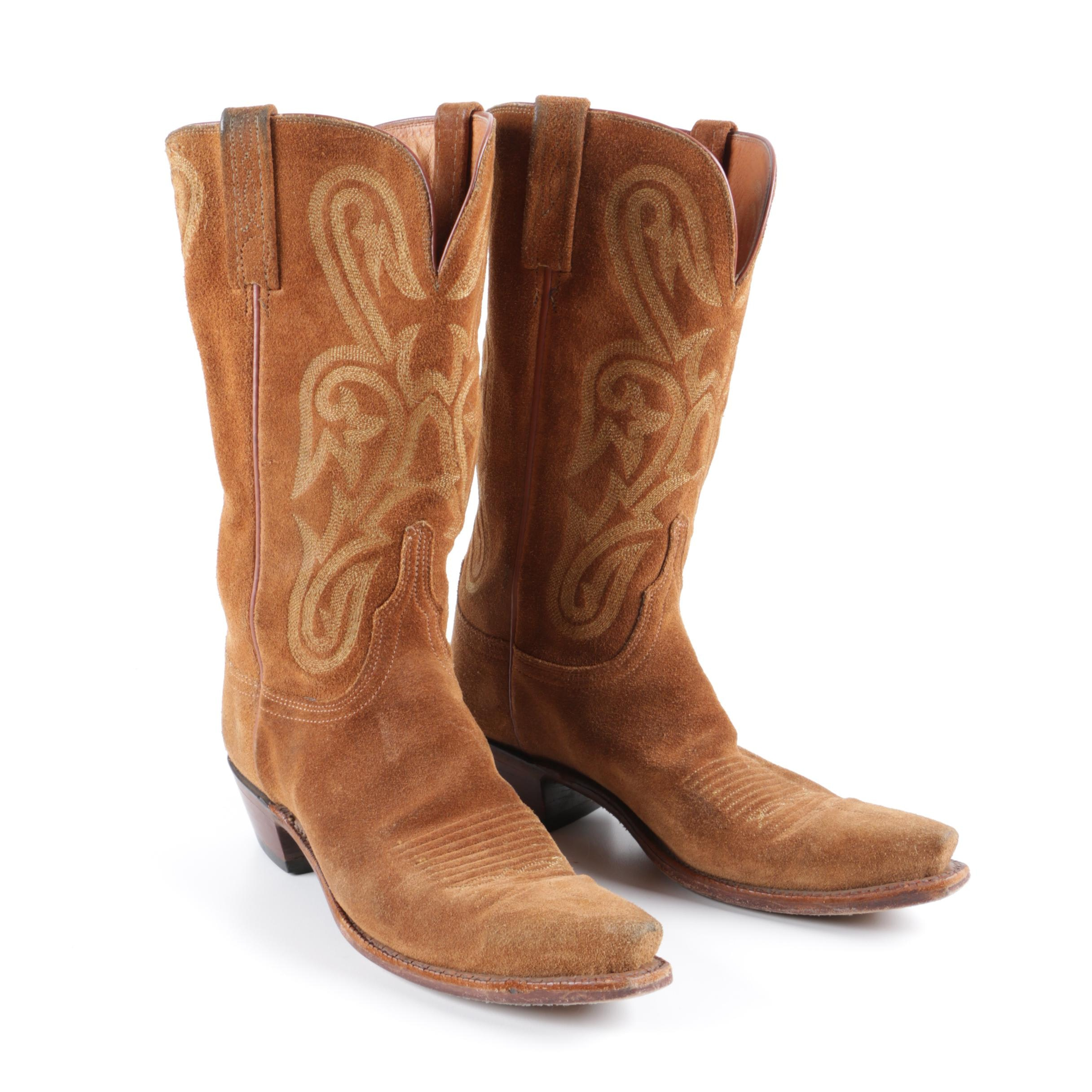 Men's 1883 Lucchese Brown Suede Cowboy Boots