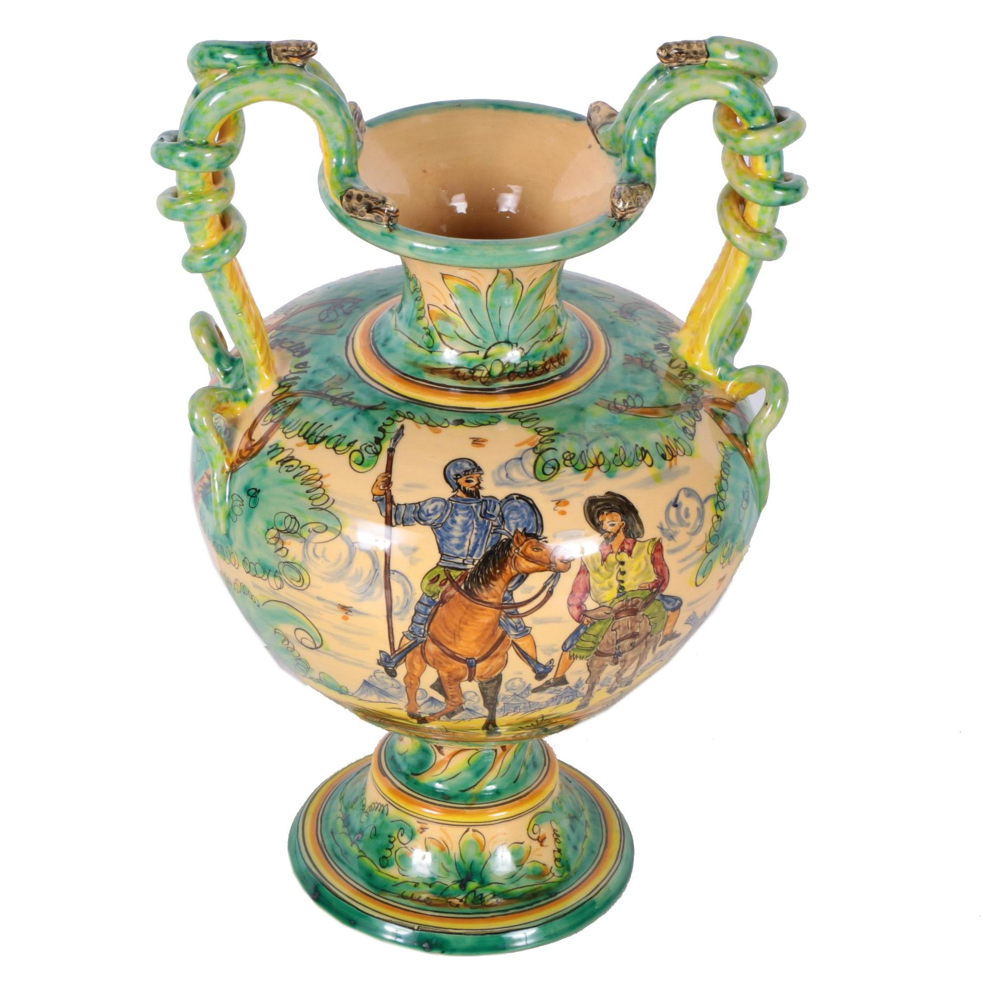 Hand-Painted Don Quixote Ceramic Urn