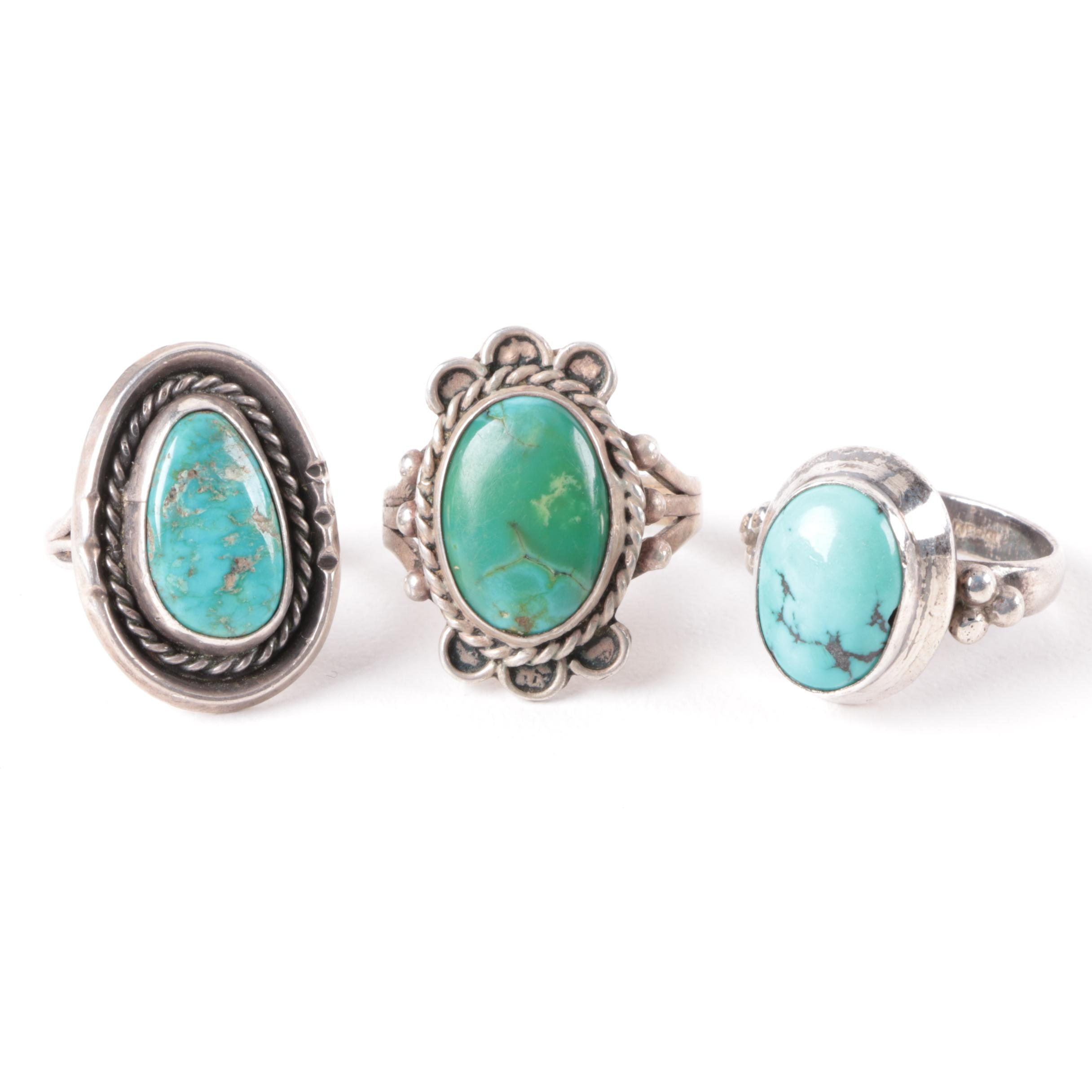 Three Sterling Silver Turquoise Rings Including Nepalese Made