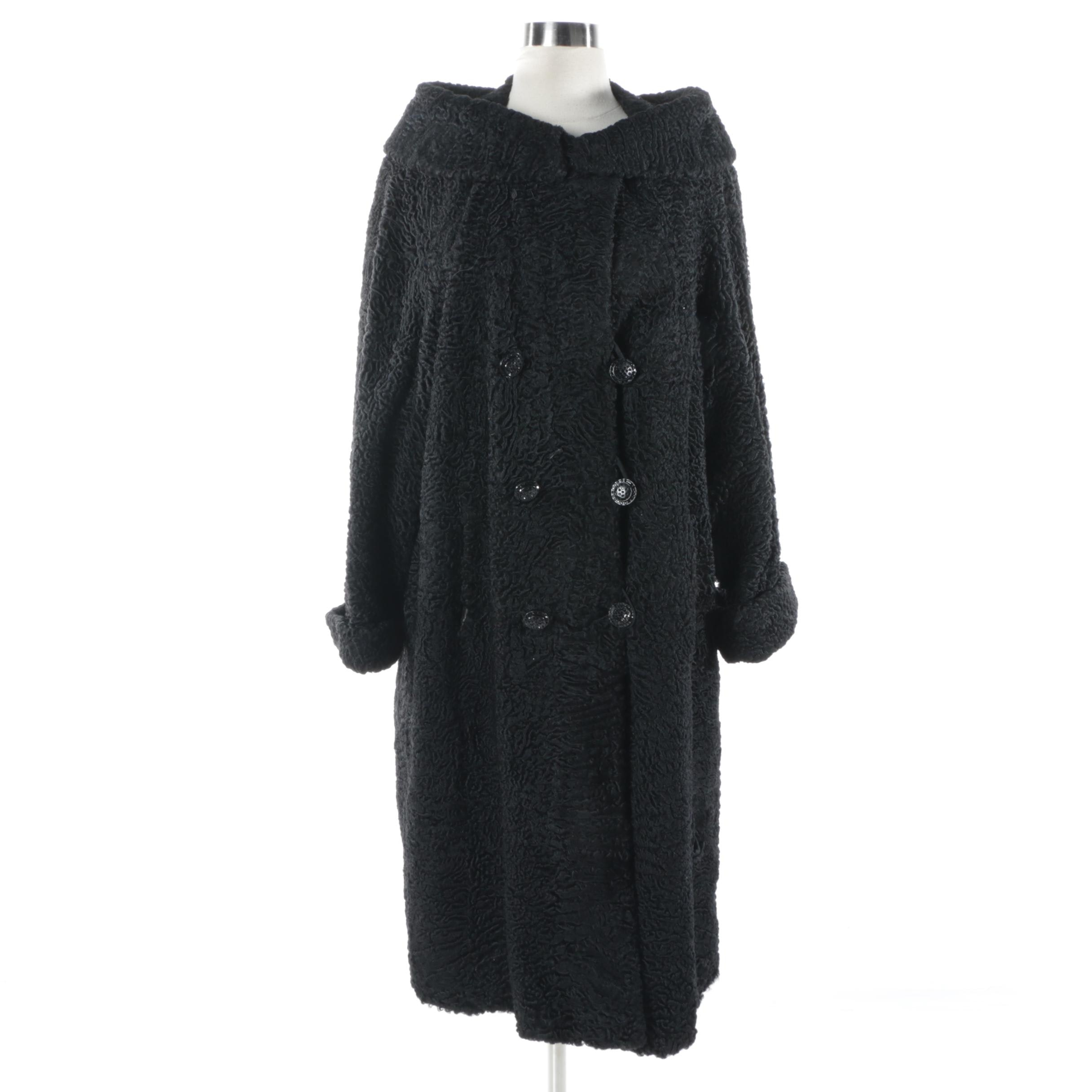 Women's Vintage Double-Breasted Black Persian Lamb Fur Coat