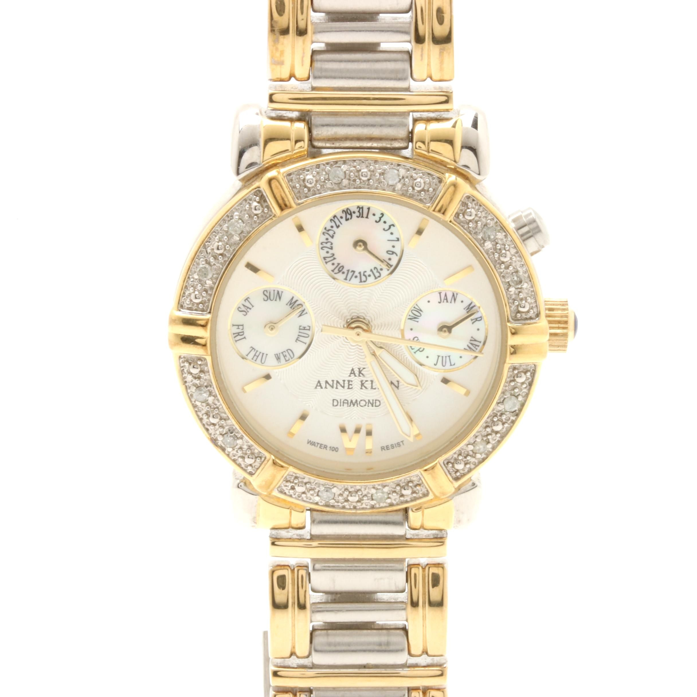 Anne Klein Two Tone Diamond and Mother of Pearl Wristwatch