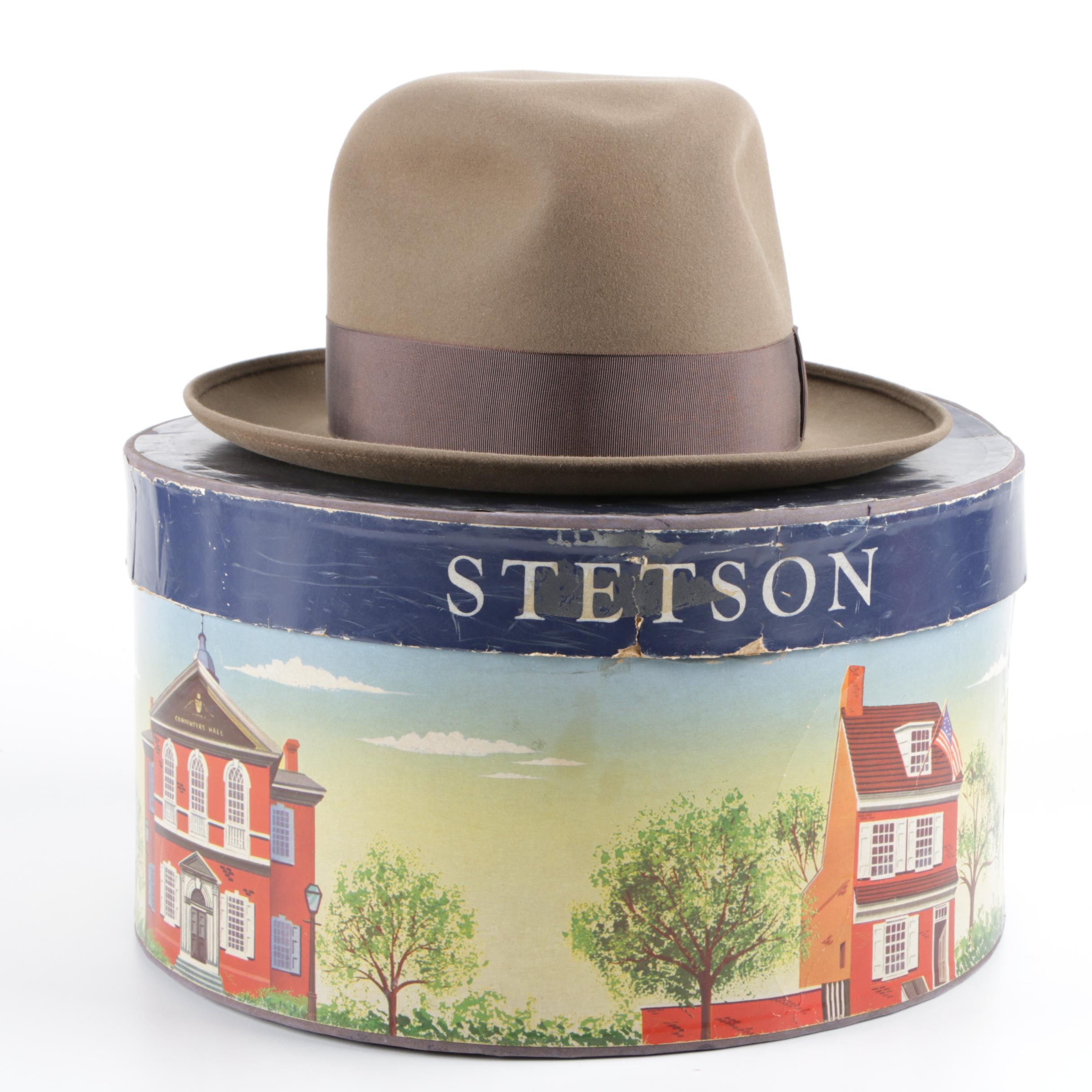 Men's Royal Stetson Tan Beaver Fur Felt Hat with Hat Box