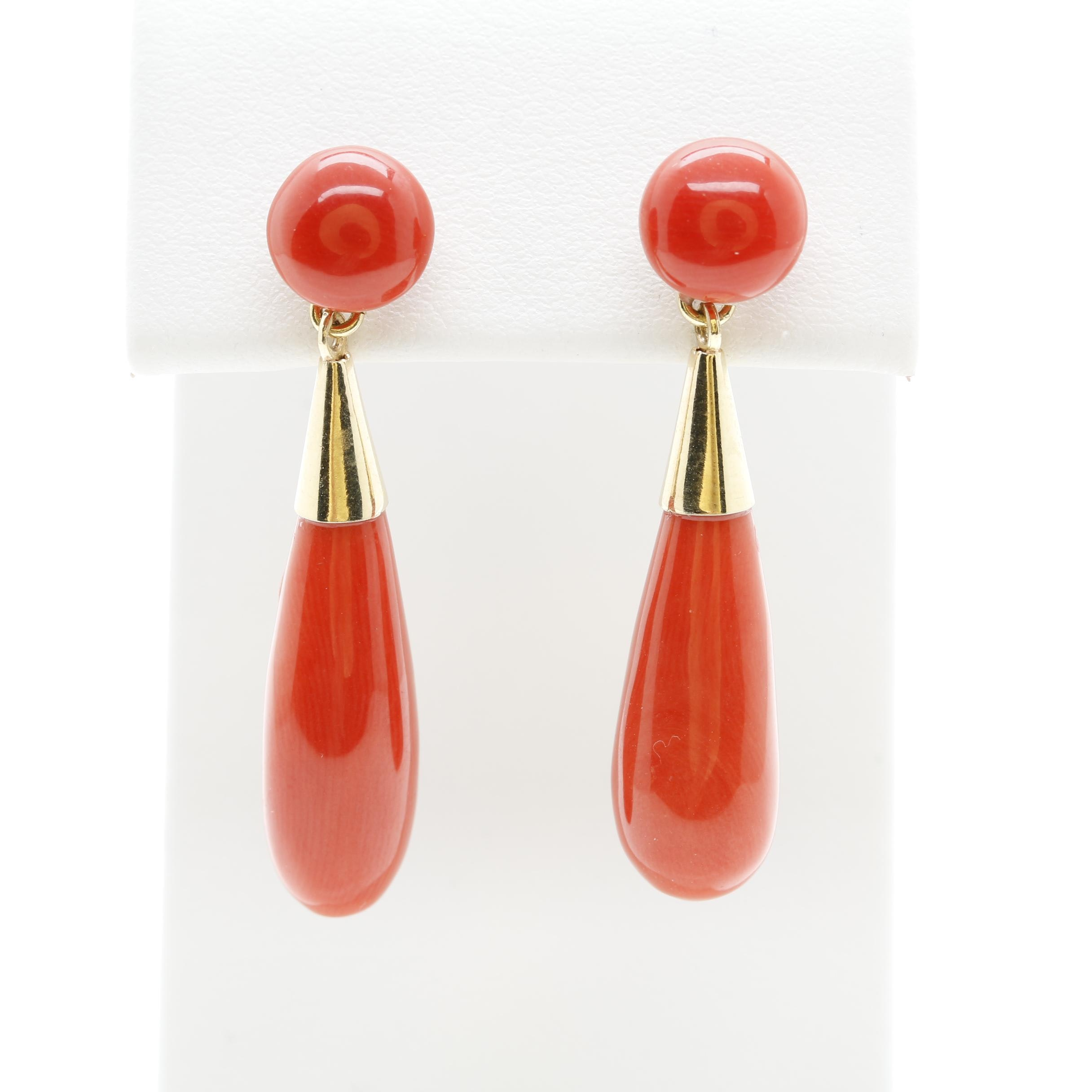 18K Yellow Gold Coral Drop Earrings