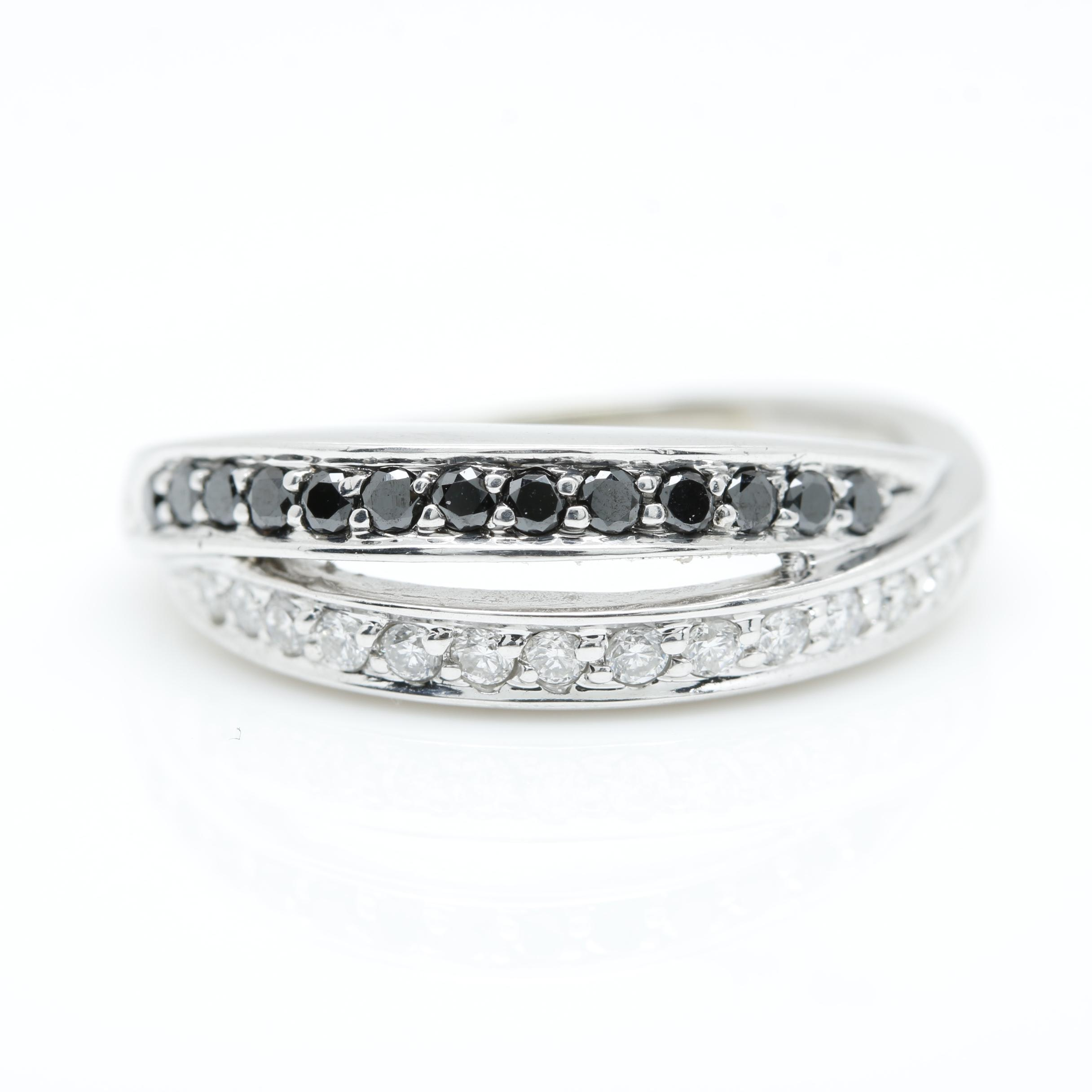 14K White Gold Black and White Diamond Ring