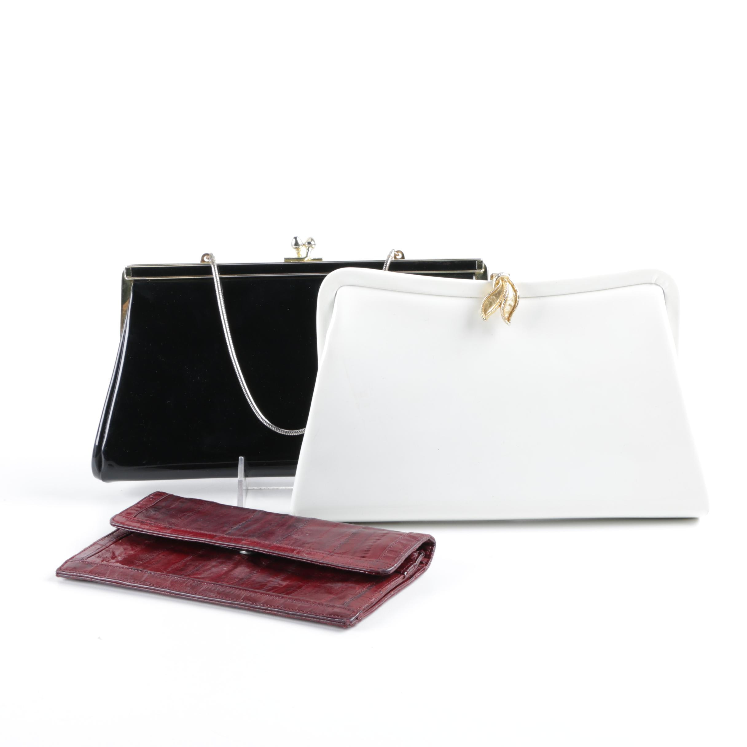 Three Vintage Patent Leather and Eel Skin Handbags