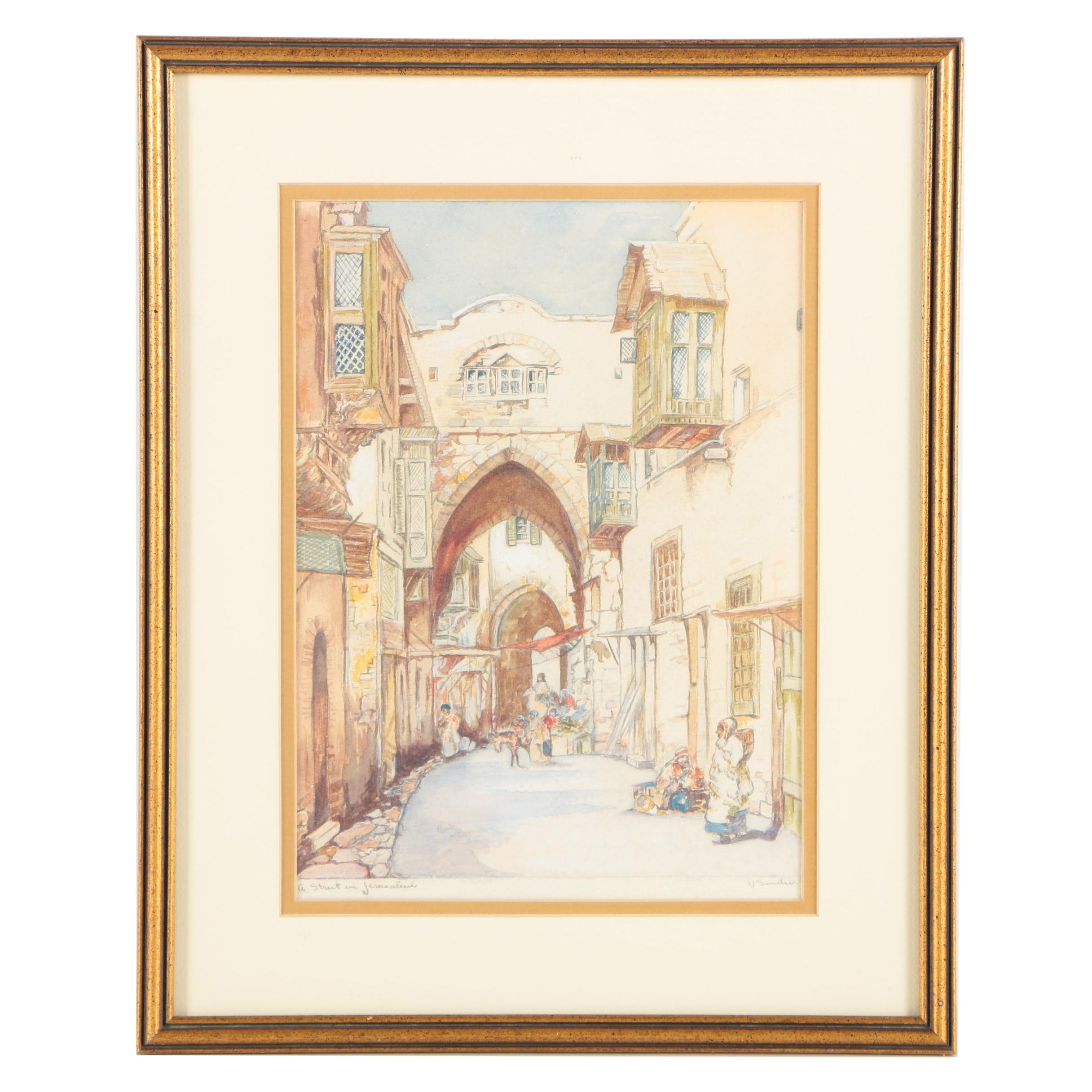 "Irwin Sander Watercolor and Gouache Painting ""A Street in Jerusalem"""