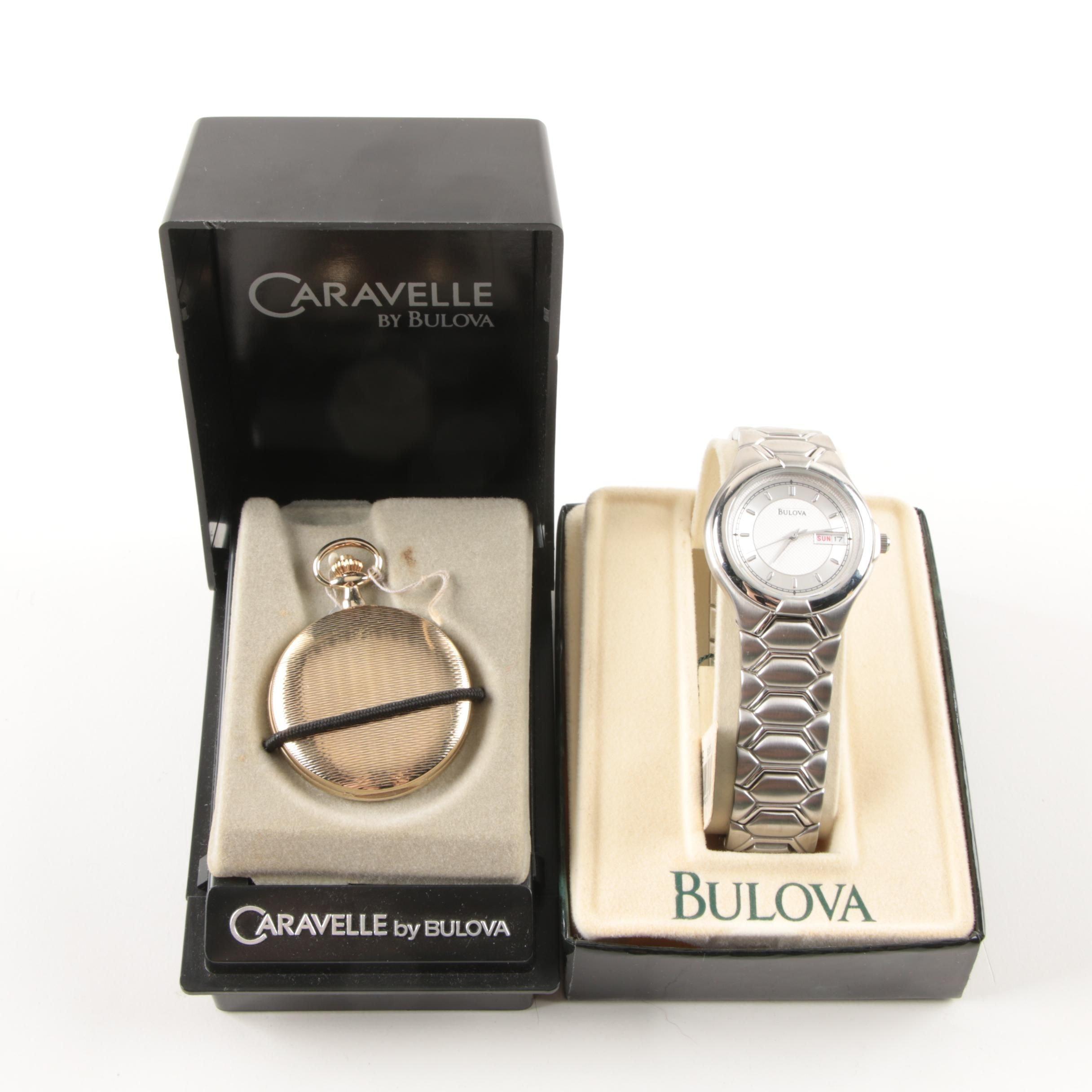 Men's Vintage Caravelle Pocket Watch and Bulova Watch