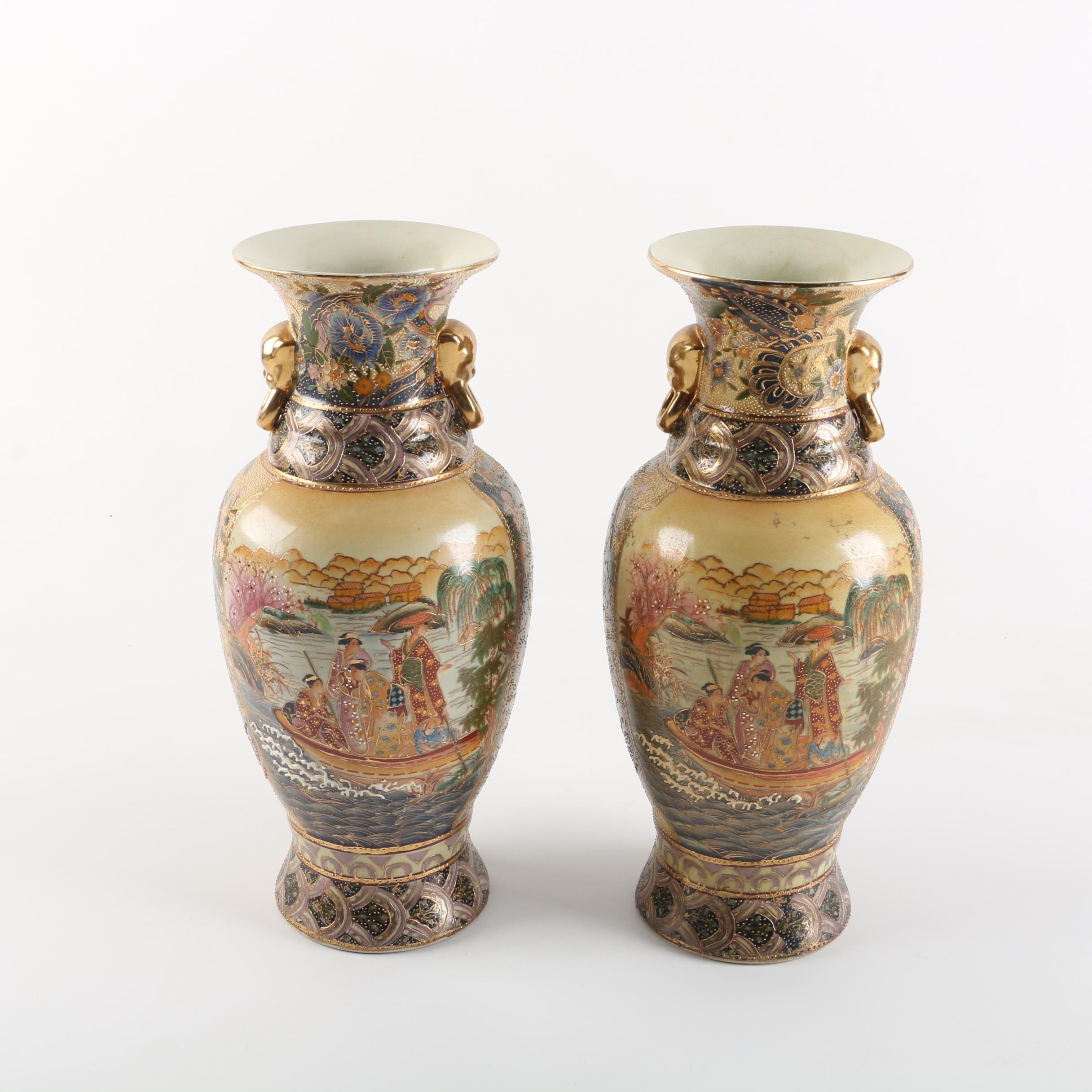 Chinese Satsuma Style Ceramic Vases