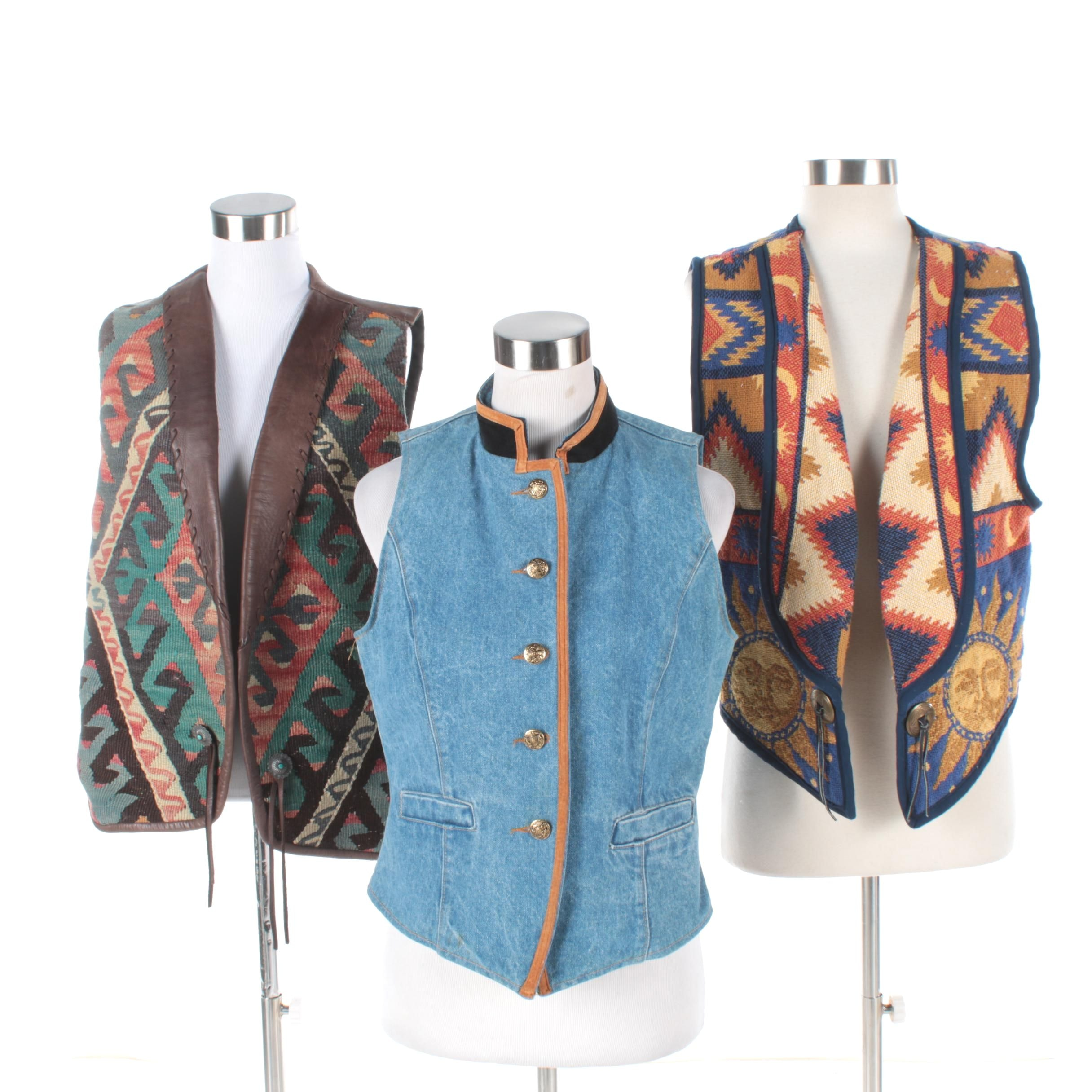 Women's Western Style Vests Featuring Handwoven Vest by Bouchér of Santa Fe