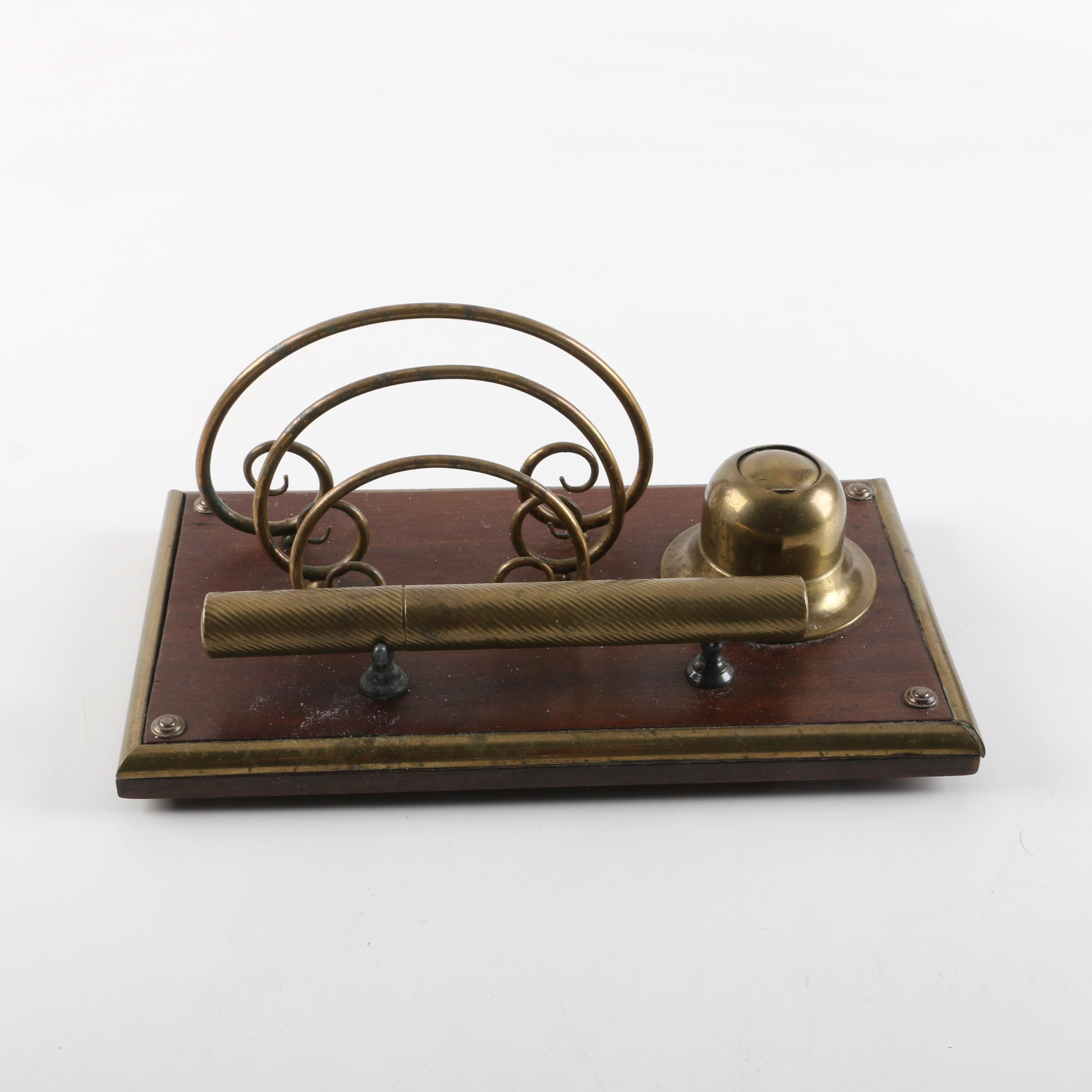 Art Deco Brass and Wood Ink Well and Letter Holder