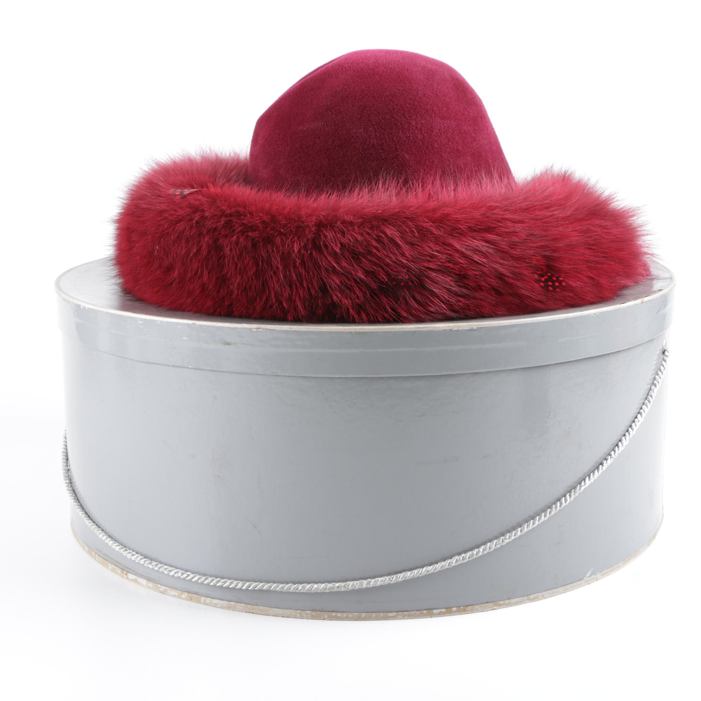 Women's Red Felt Hat with Fox Fur Trim with Box