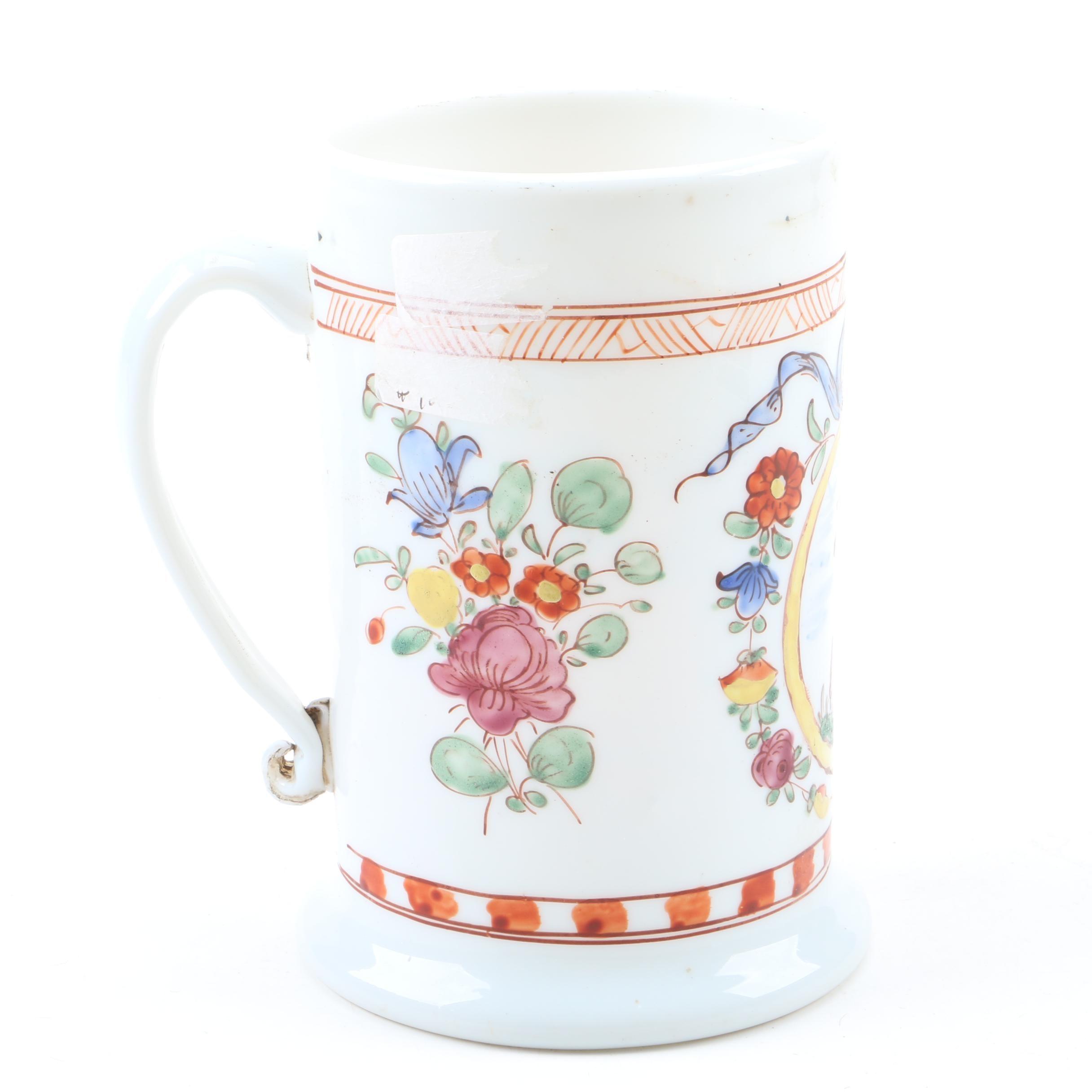 Antique Bohemian Milk Glass Tankard Mug