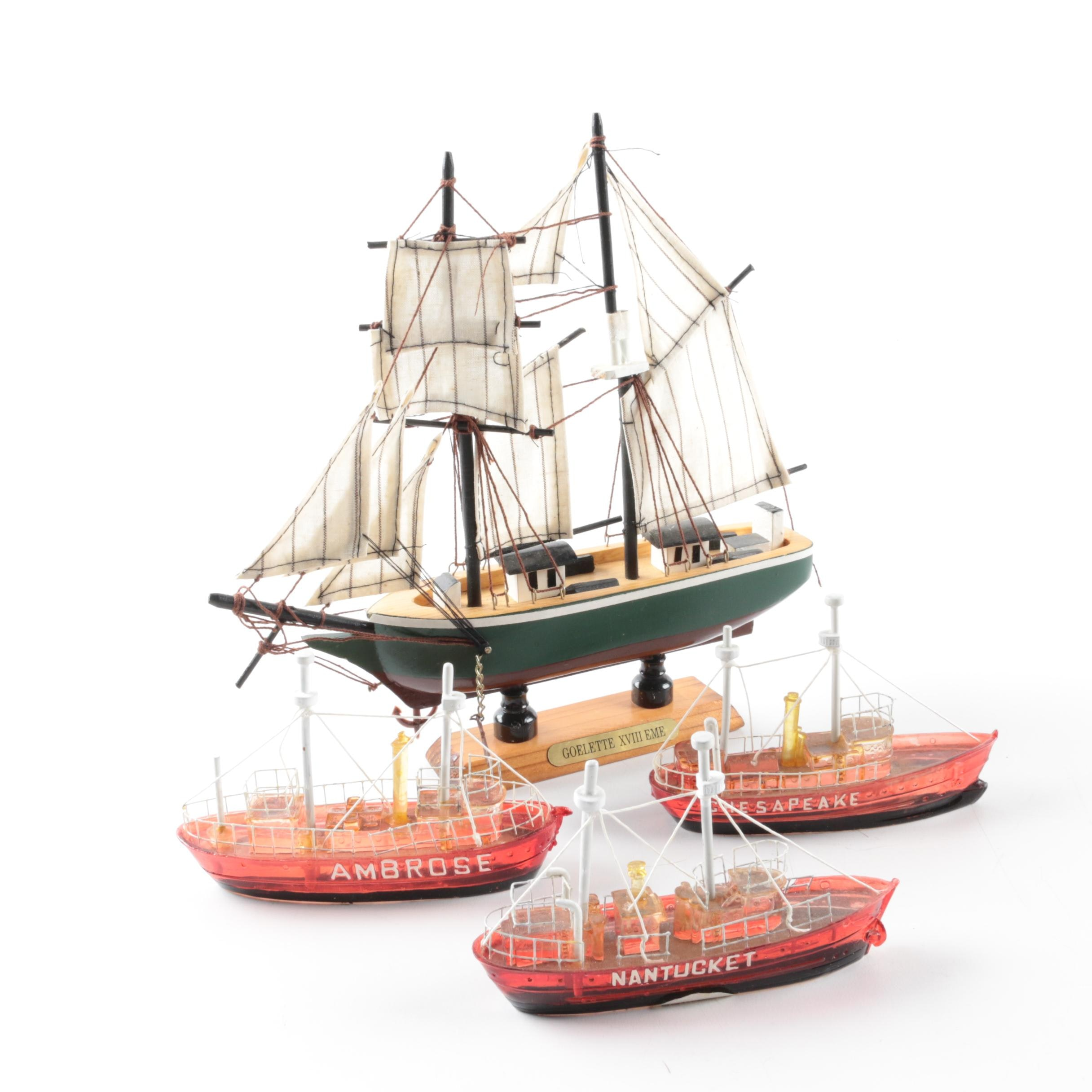 Model French Schooner Sailing Ship with Three Glass Lightship Figurines