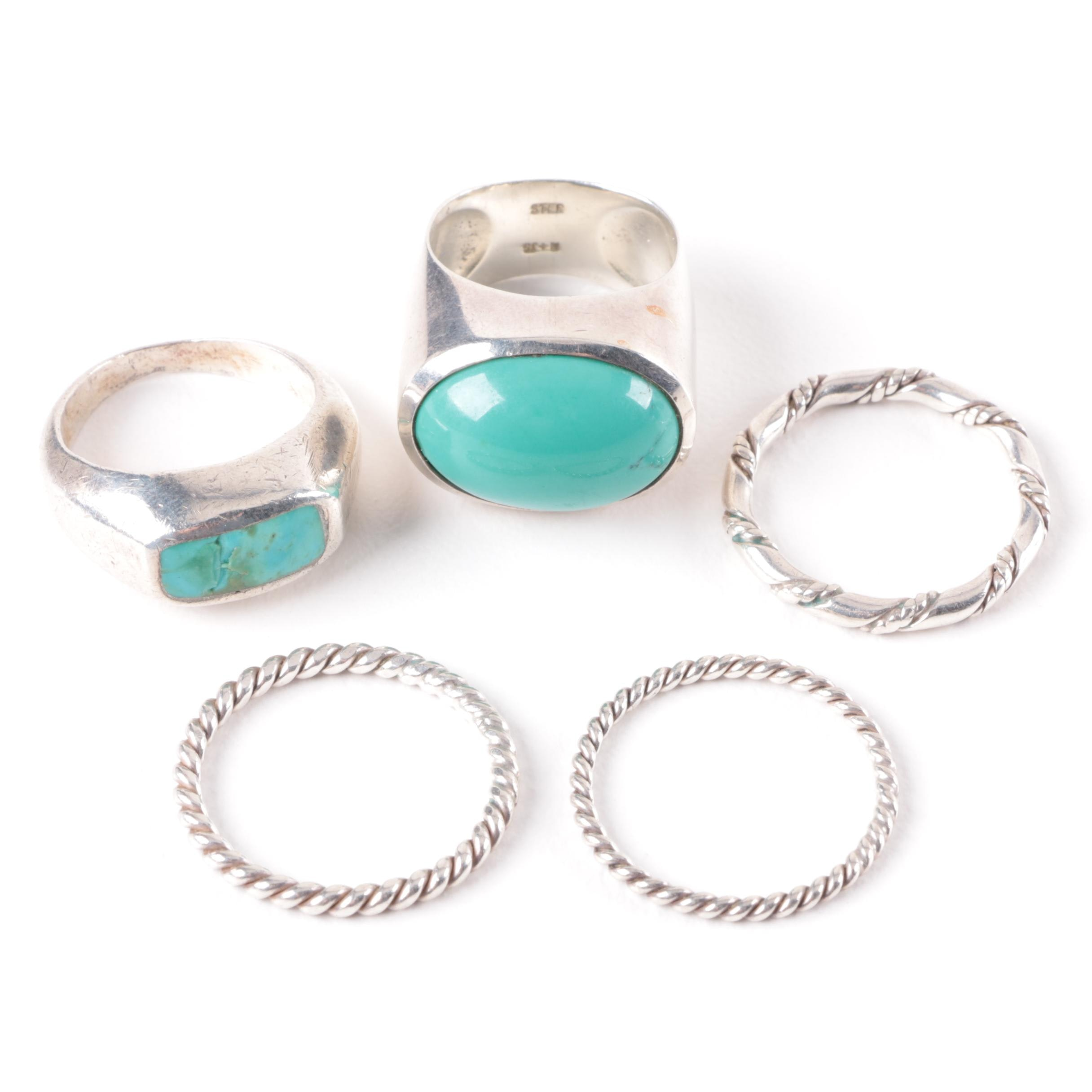 Sterling Silver Rings Including Dyed Howlite and Turquoise