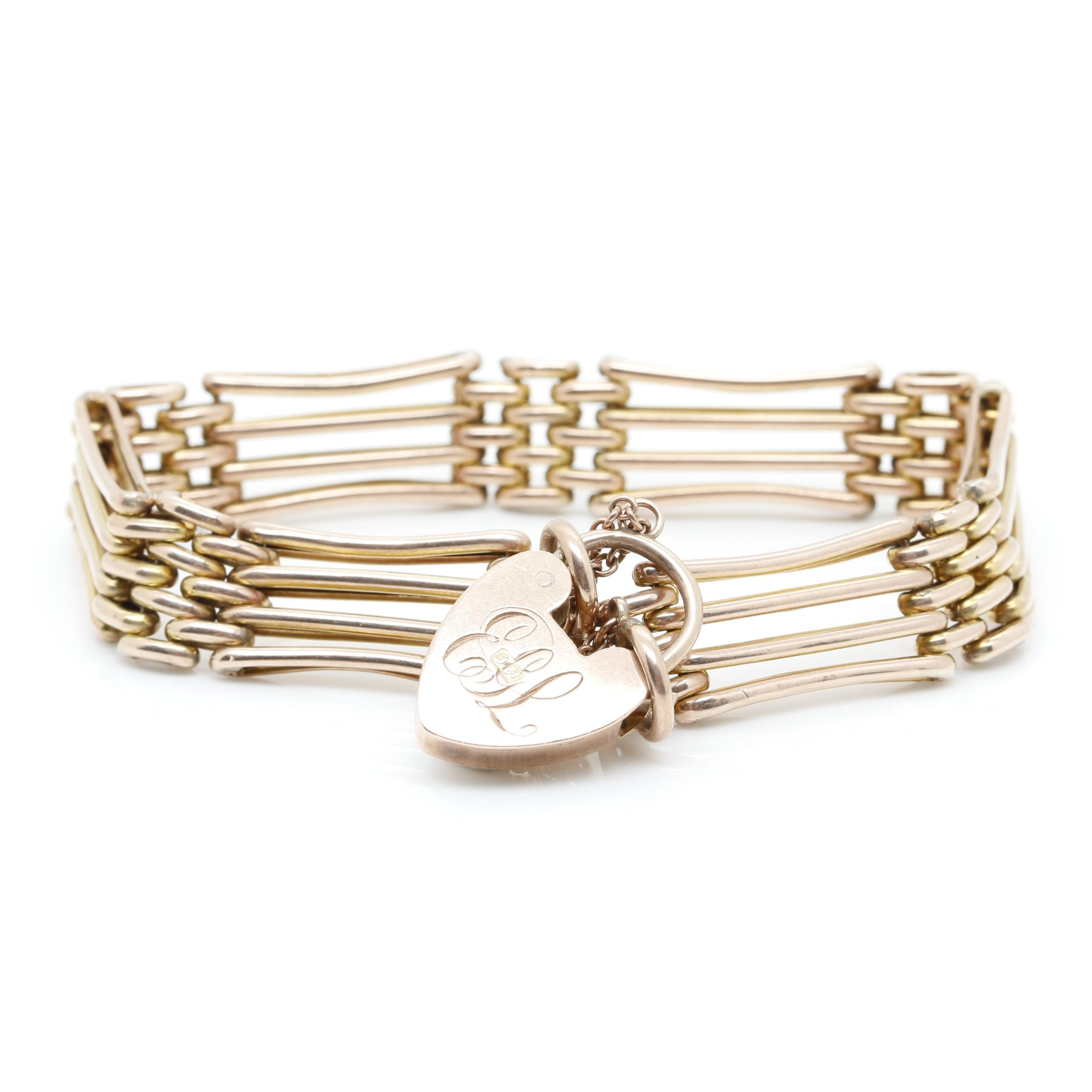 Victorian 10K Yellow Gold Gate Bracelet Bracelet with Engraved Heart Charm