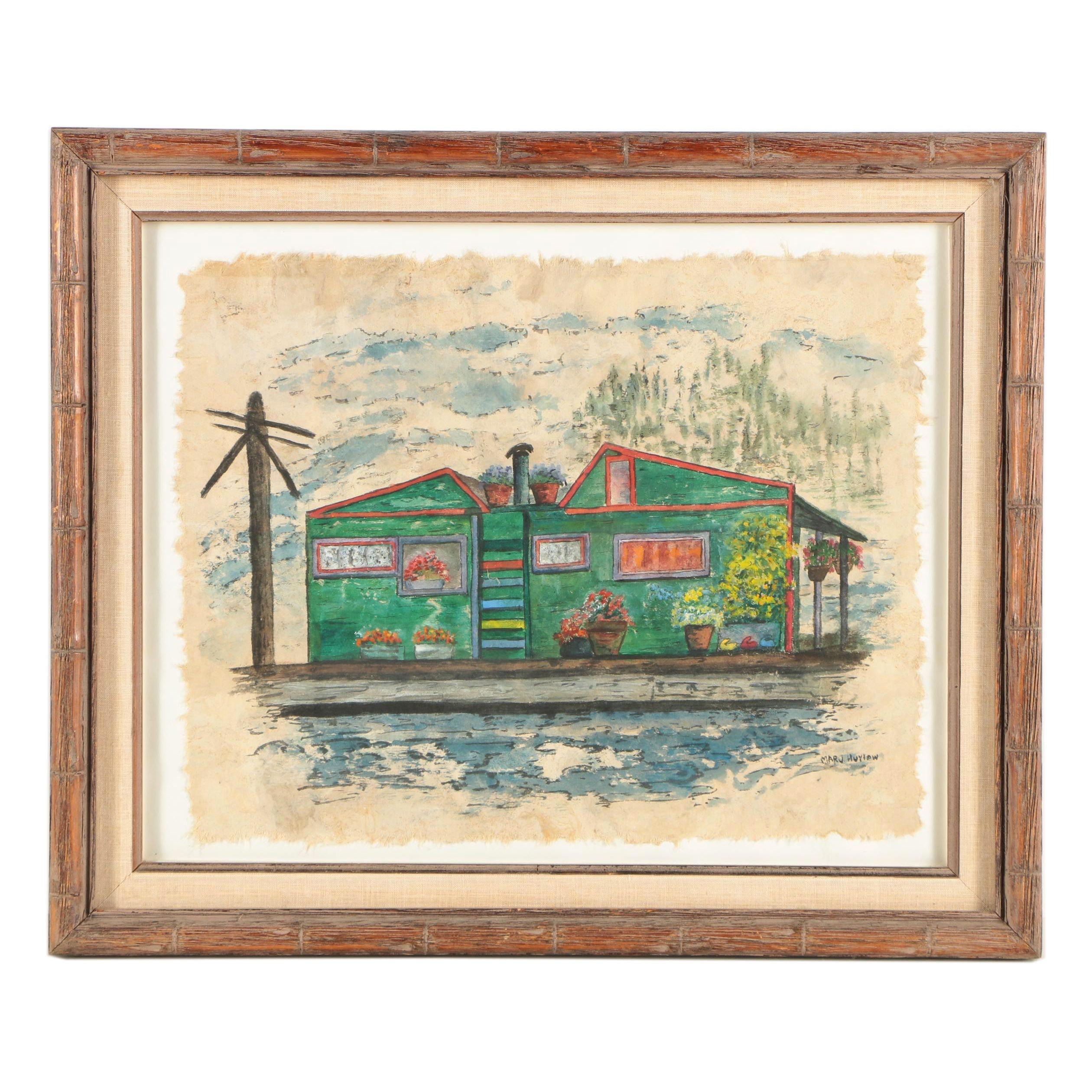 """Marj Hurlow Watercolor Painting """"Houseboat at Eagle Harbor Marina"""""""