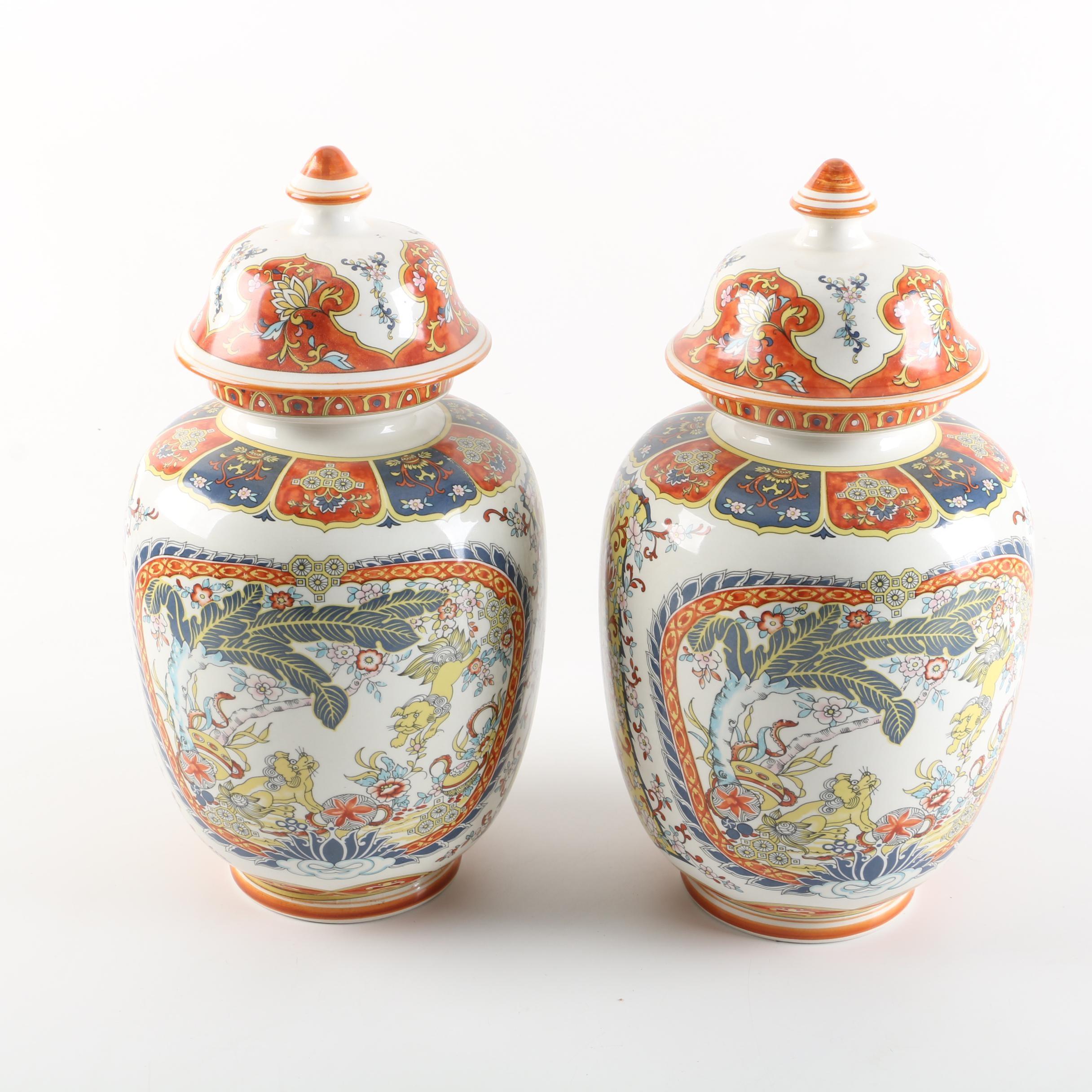"""Italian Ceramic Andalt """"Chineserie"""" Ginger Jars"""