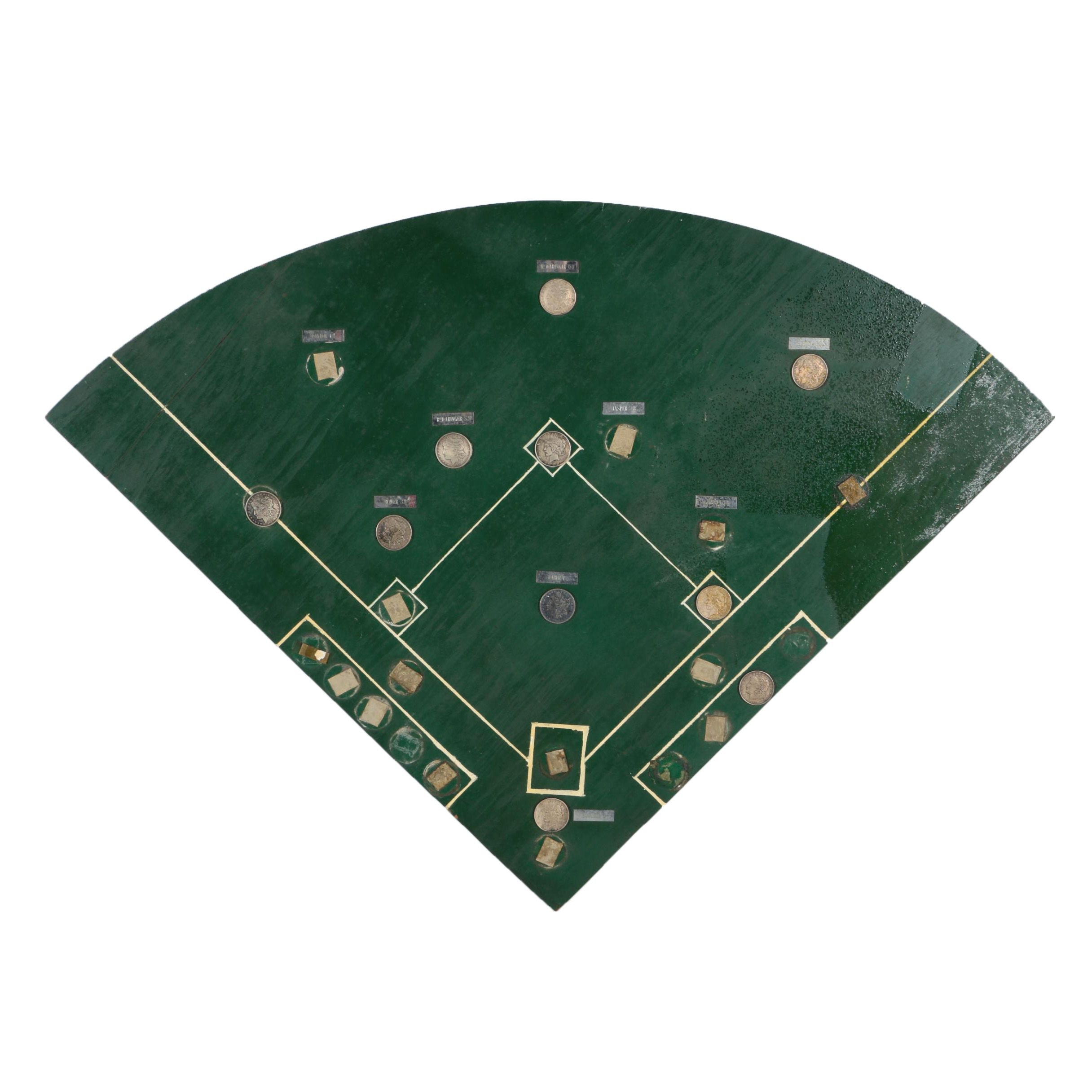 Plywood Baseball Field Hanger with Ten Morgan and Peace Dollars
