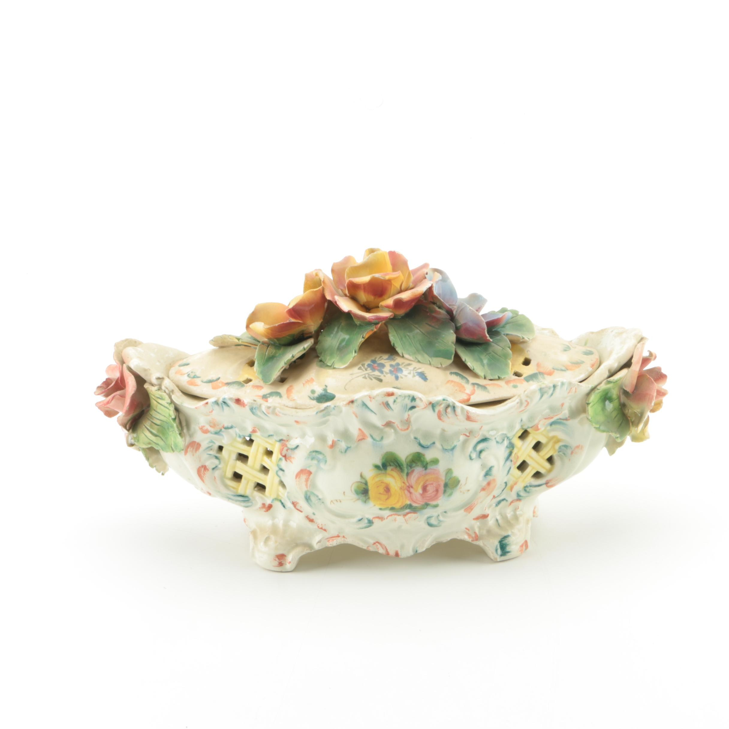Italian Hand Painted Ceramic Bowl with Roses