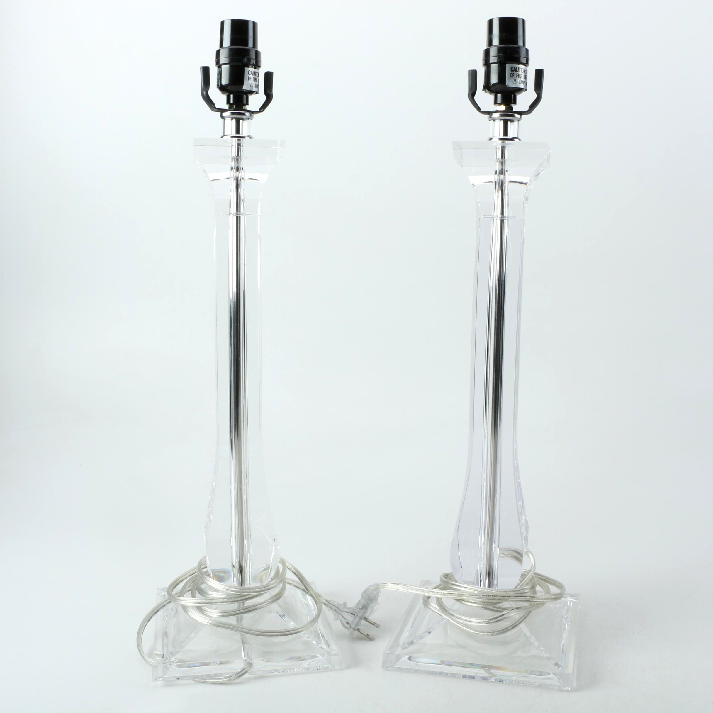 Pair of Vintage Acrylic Table Lamps