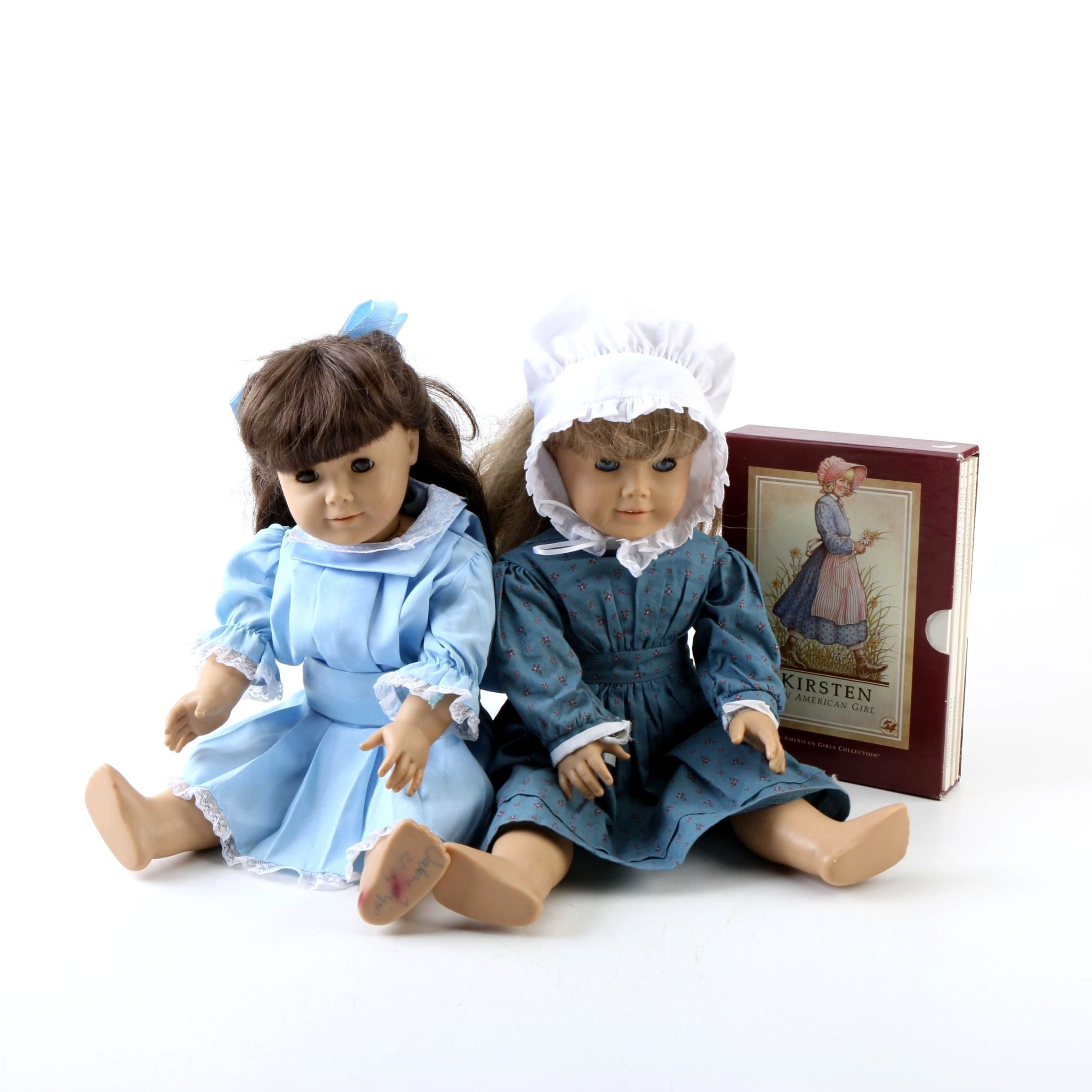 """American Girl """"Samantha"""" and """"Kirsten"""" Dolls with Boxed Set of Books"""