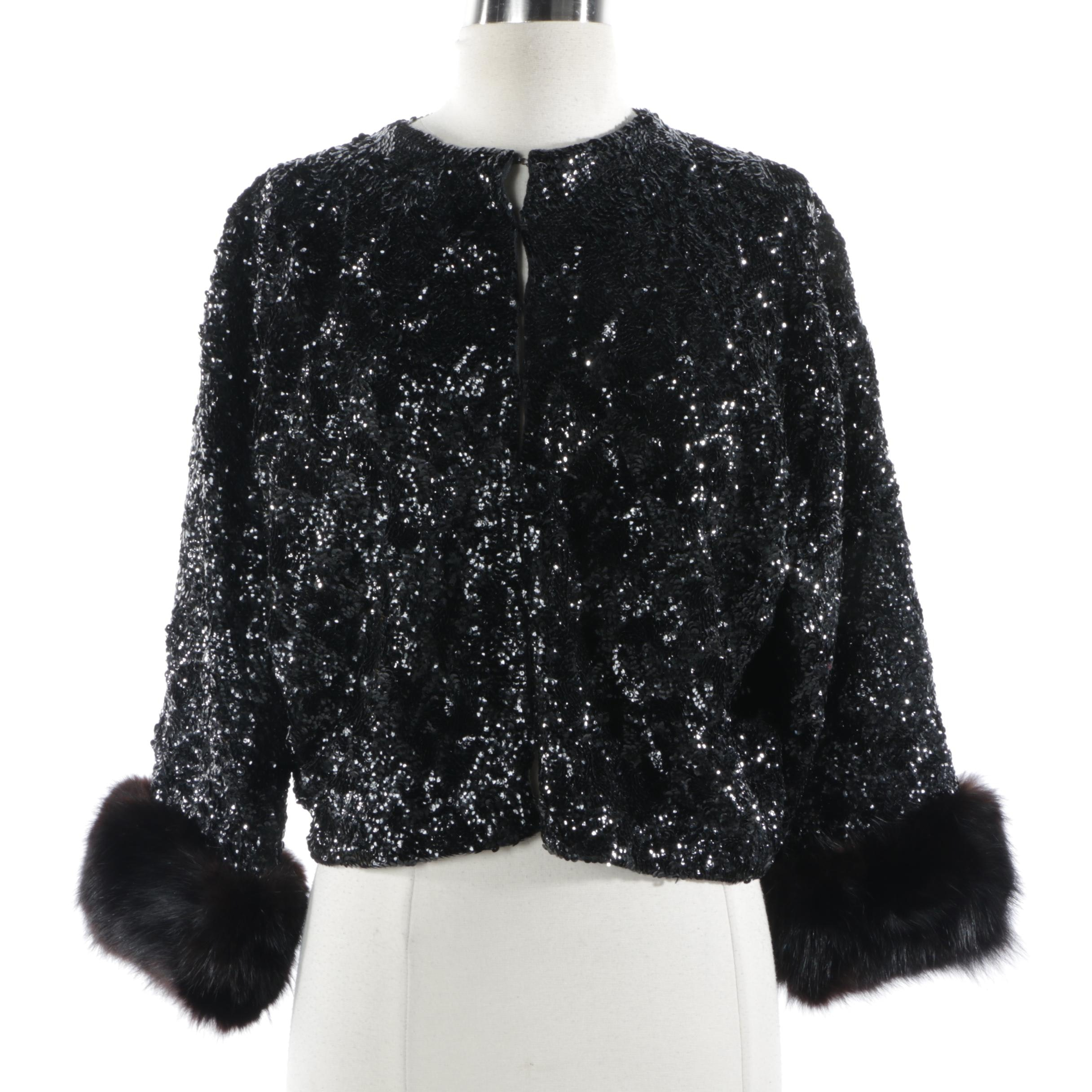 Women's Vintage Black Sequin Evening Jacket with Fox Fur Sleeve Cuffs