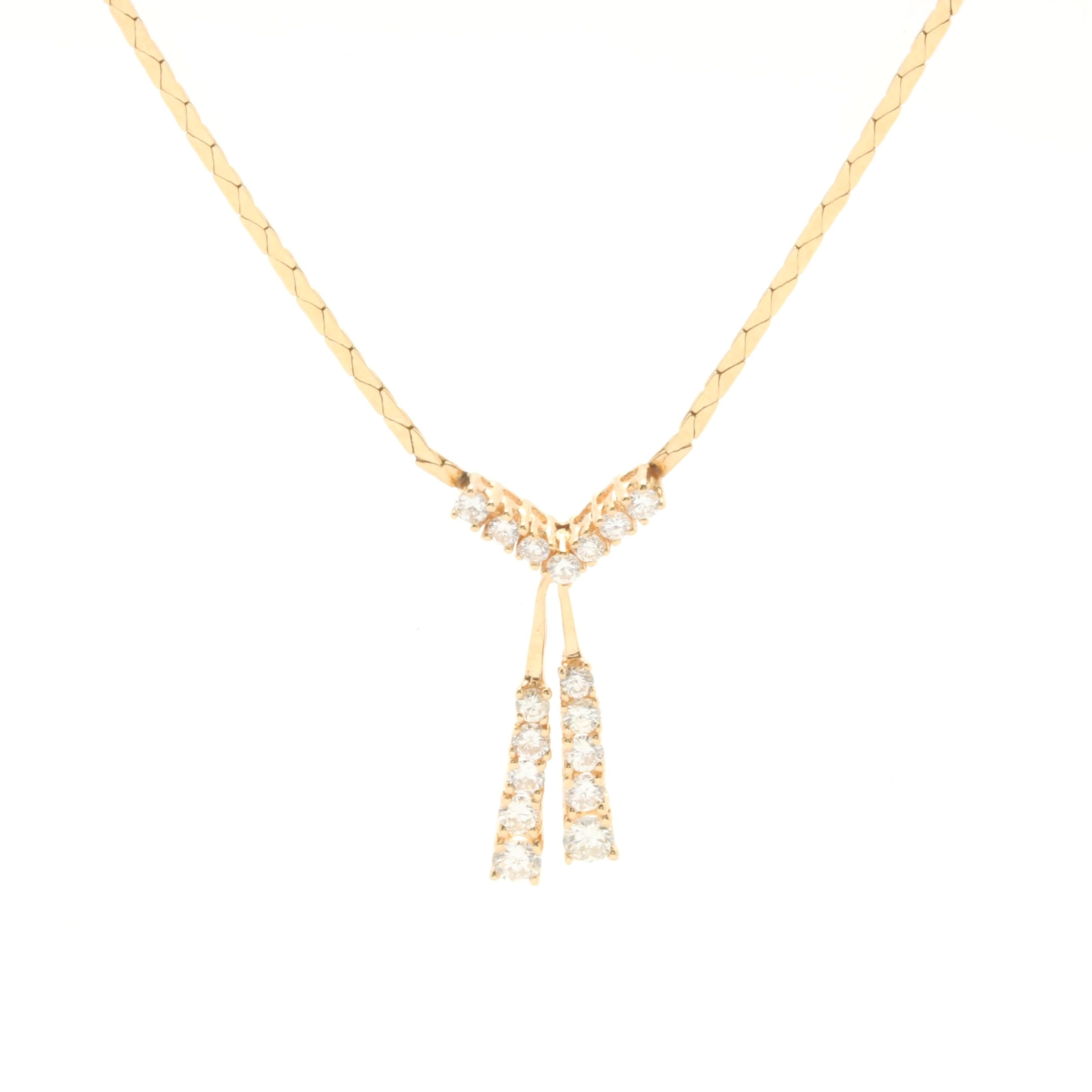 14K Yellow Gold 1.50 CTW Diamond Pendant Necklace