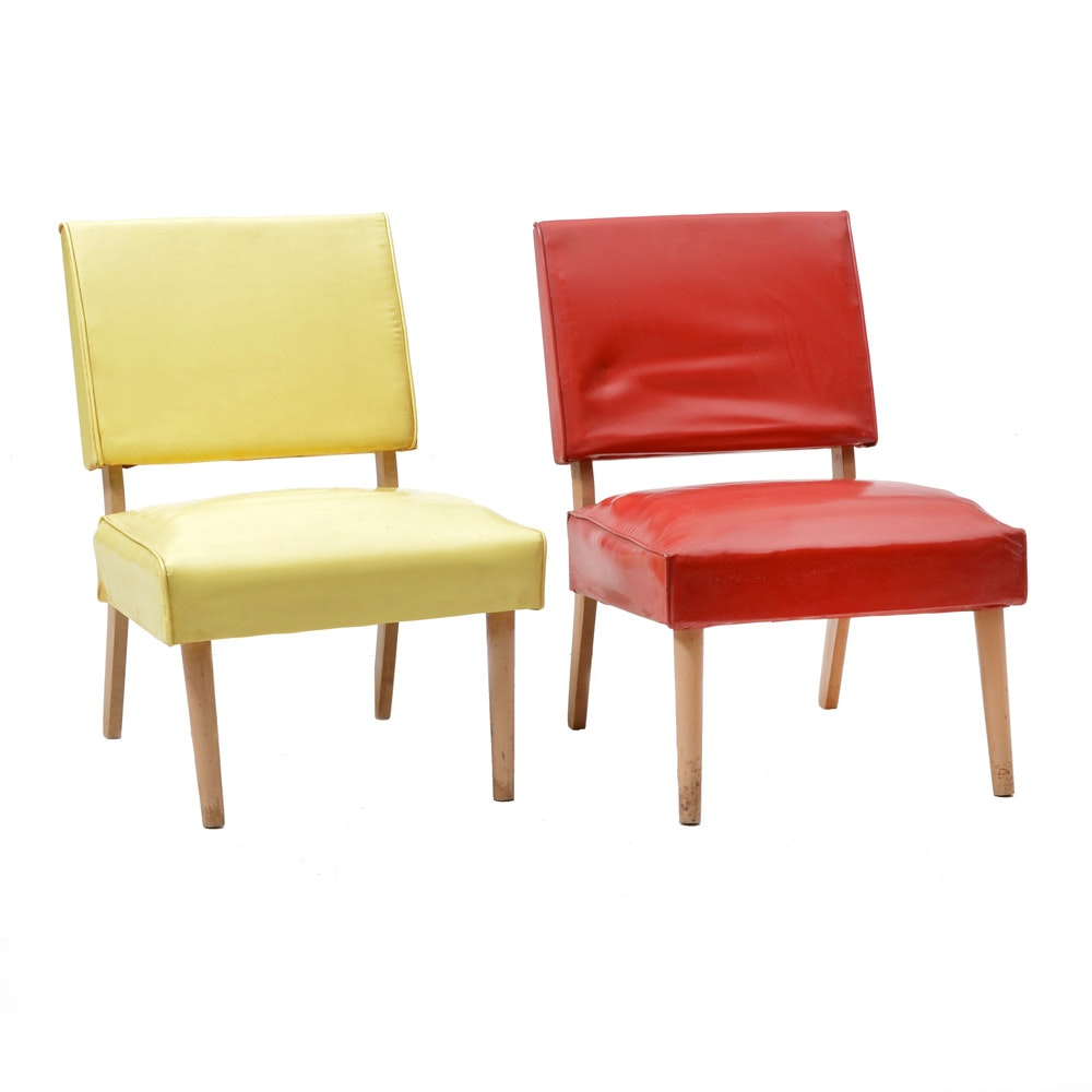Pair of Mid Century Modern Chairs in Yellow and Light Green
