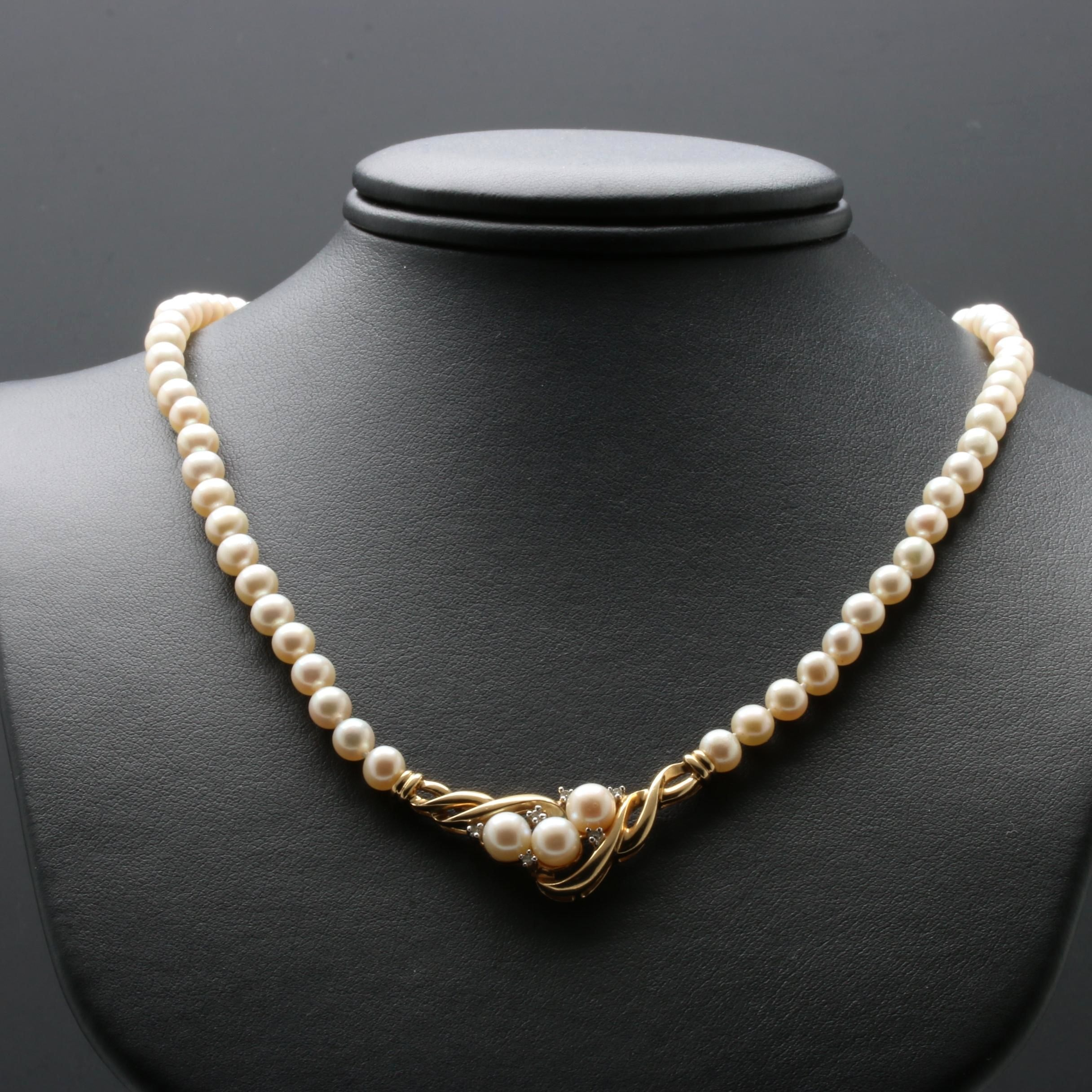 Alwand Vahan 14K Yellow Gold Cultured Pearl and Diamond Necklace