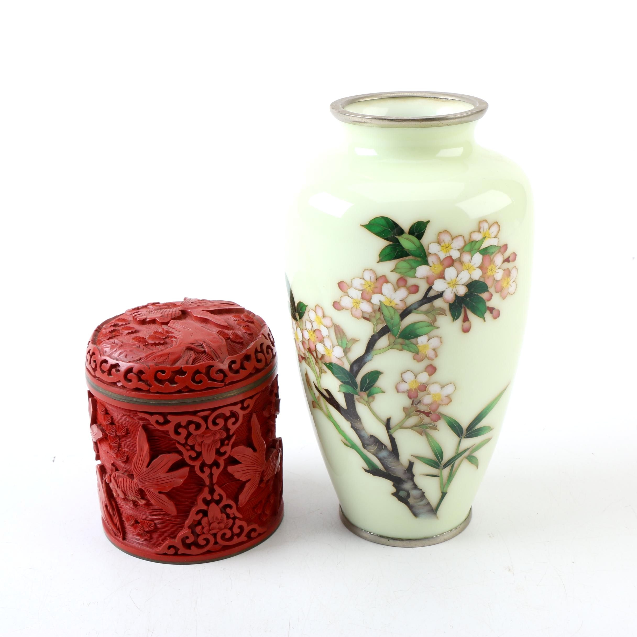 Chinese Carved Wood Box and Japanese Cloisonné Vase