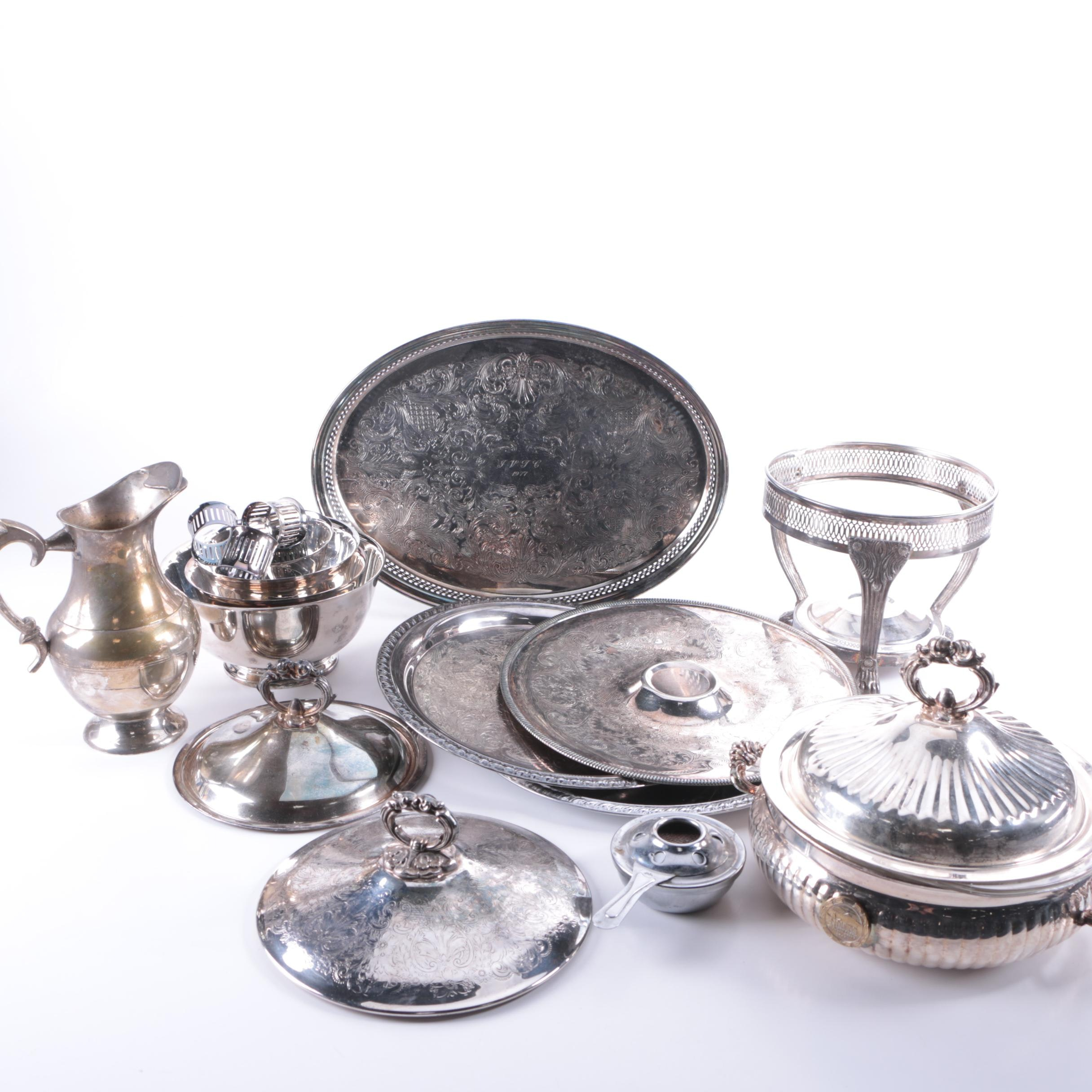 Silver Plate Paul Revere Style Bowls and Assorted Silver Plate Serveware
