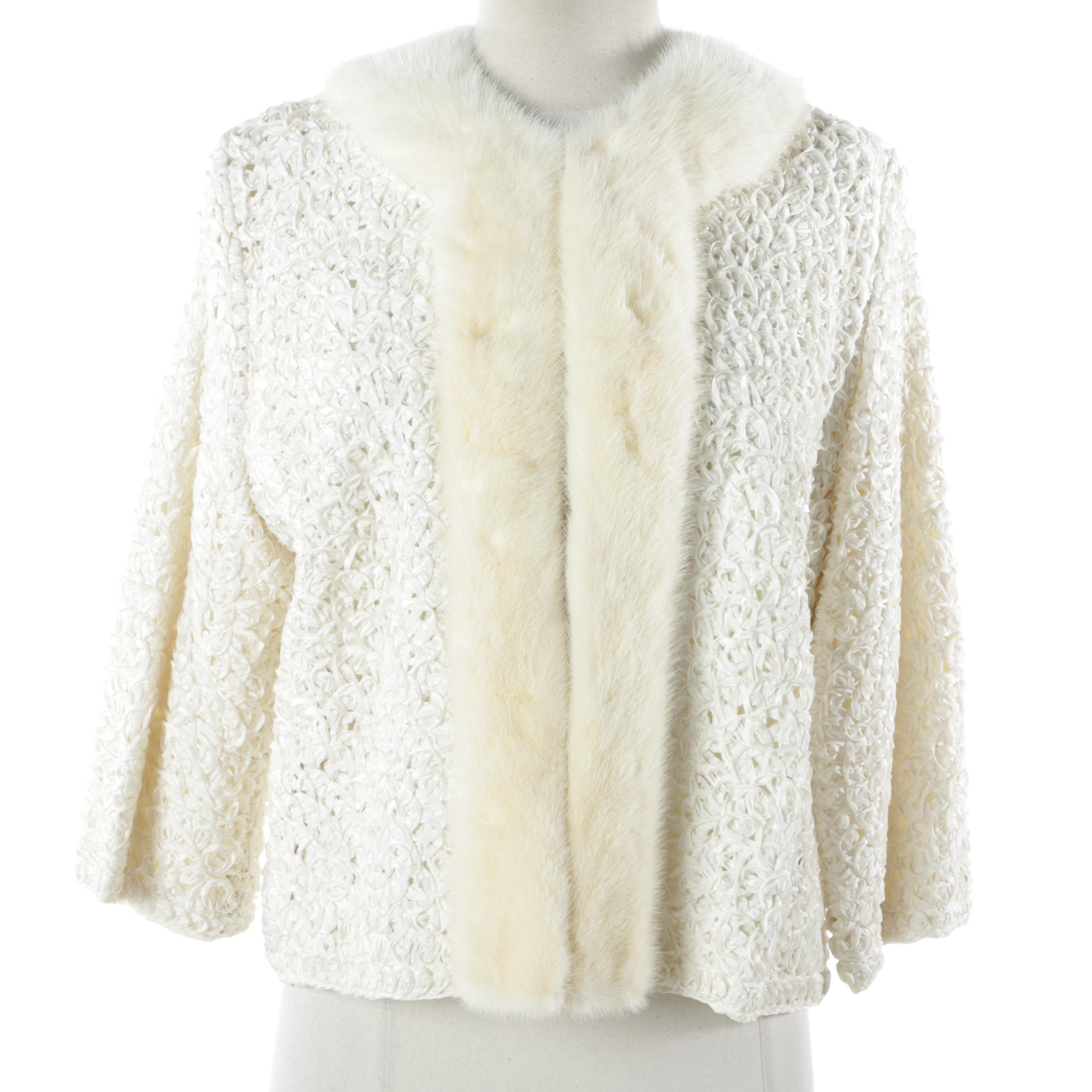 Circa 1950s Vintage Davidson's White Ribbon Jacket with Mink Trim