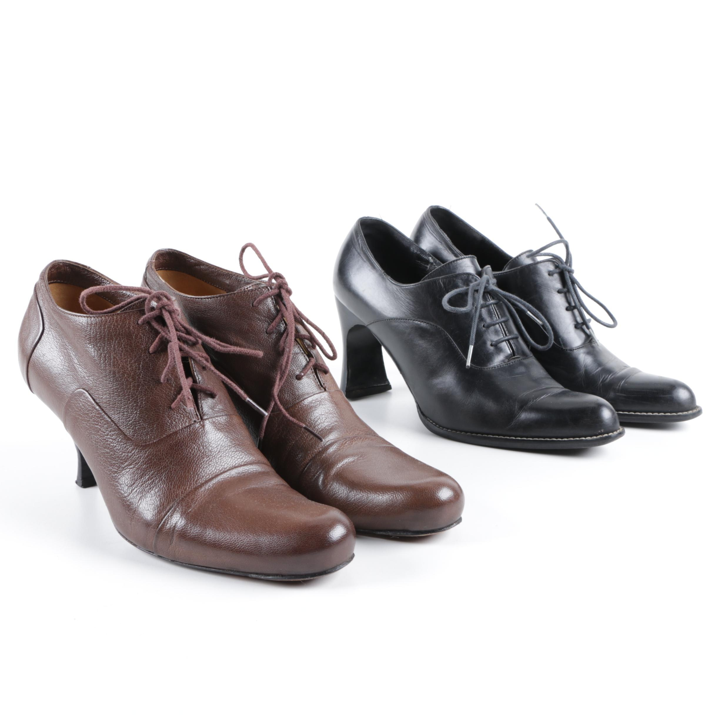 Robert Clergerie and Roberto Del Carlo Heeled Oxford Booties