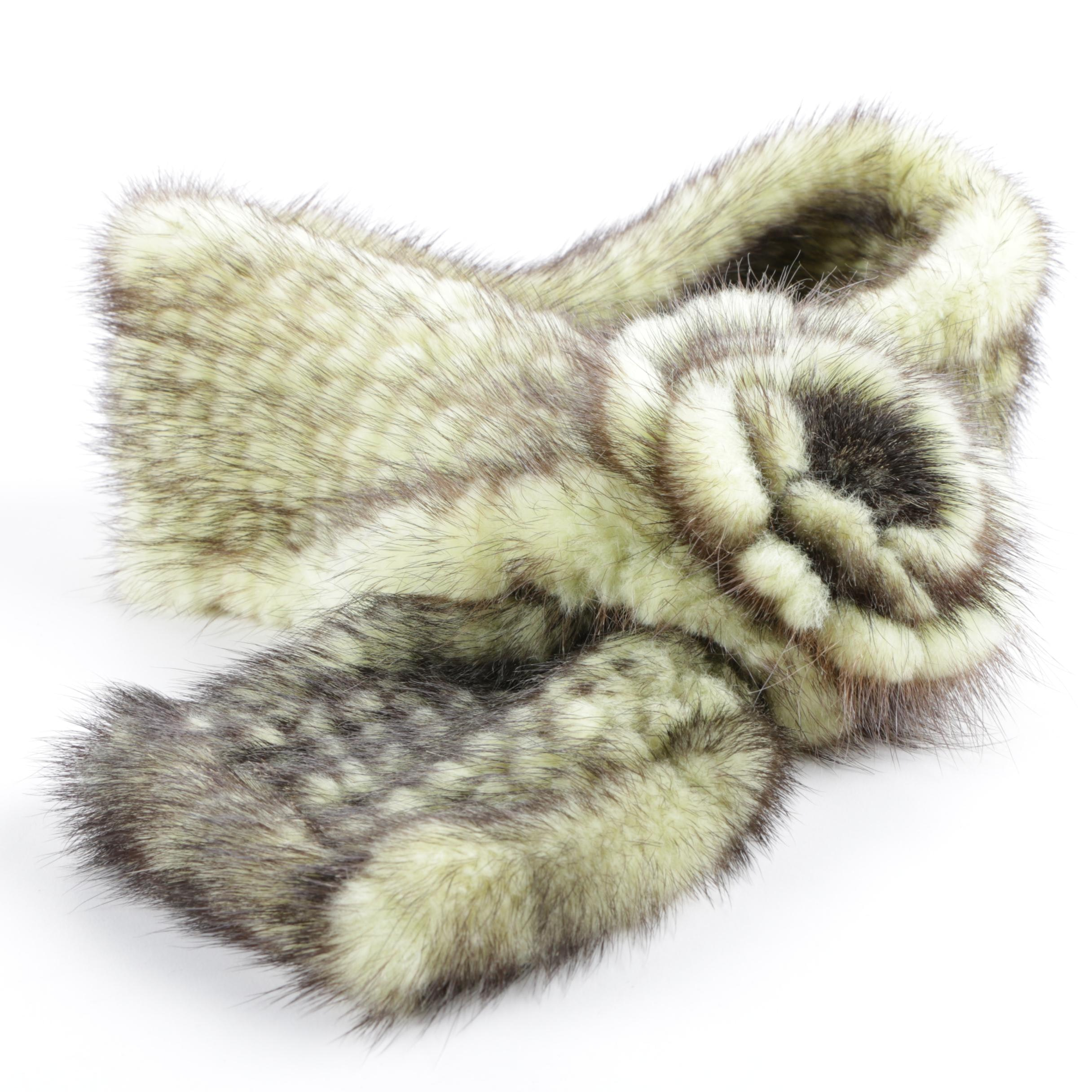 Green and Brown Knit Mink Fur Scarf