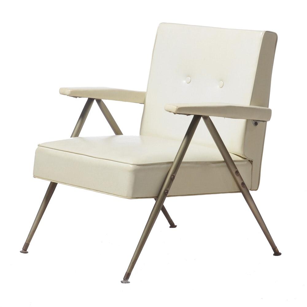 Mid Century Modern White Armchair