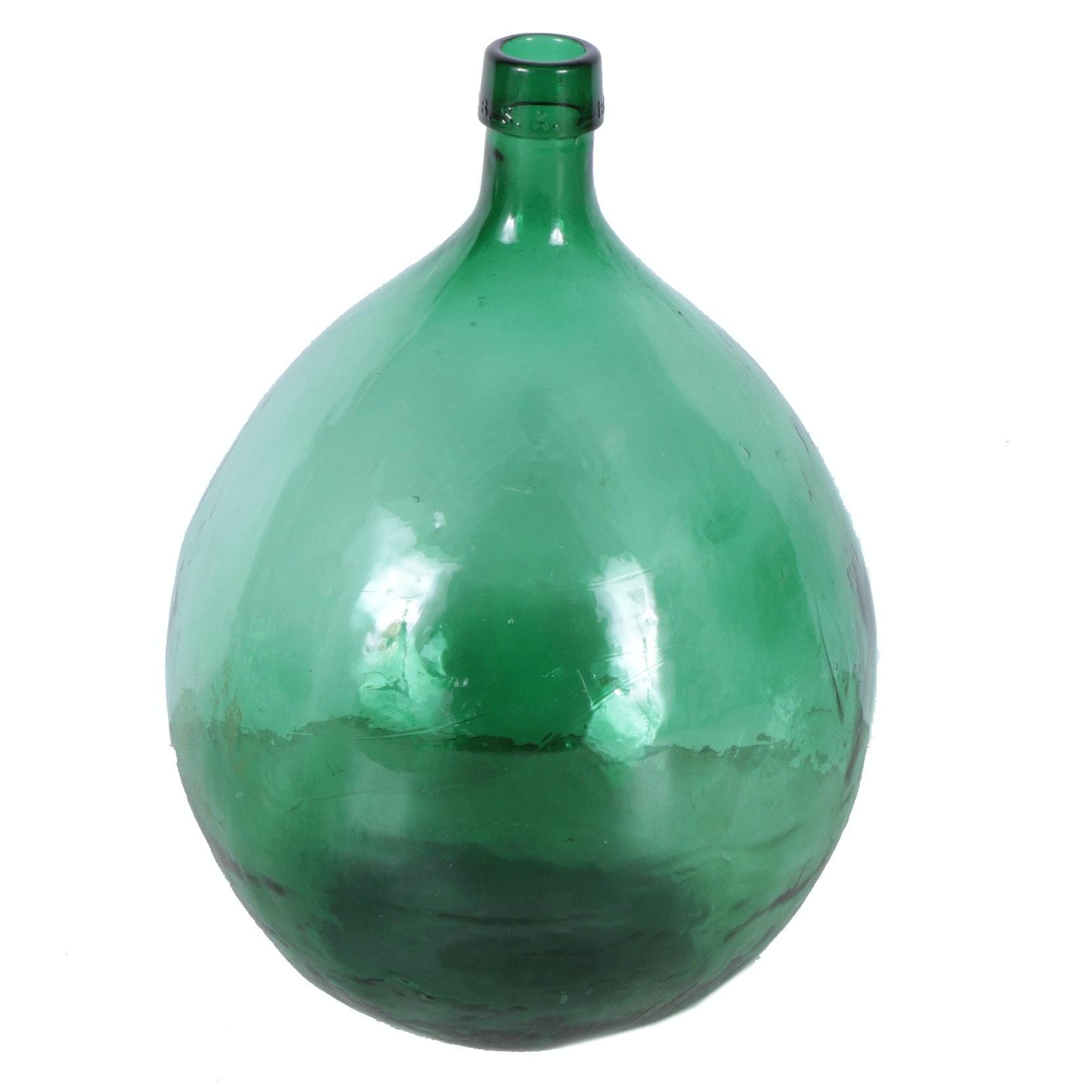 Vintage Spanish Glass Demijohn Wine Jug