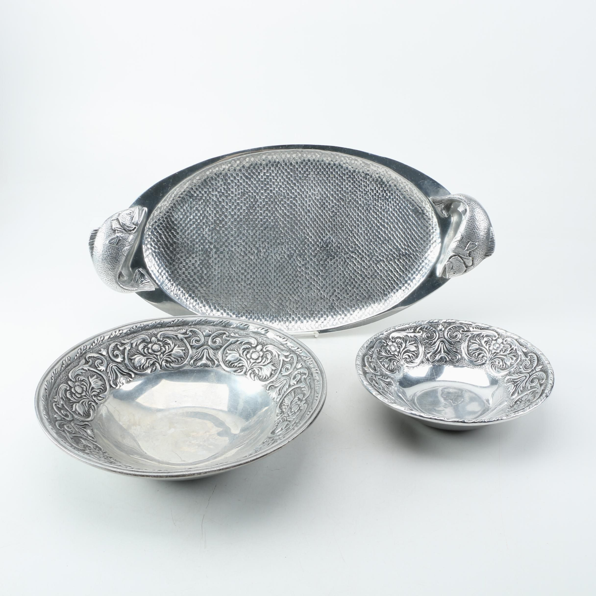 "Wilton Armetal ""William and Mary"" Bowls and Fish Platter"
